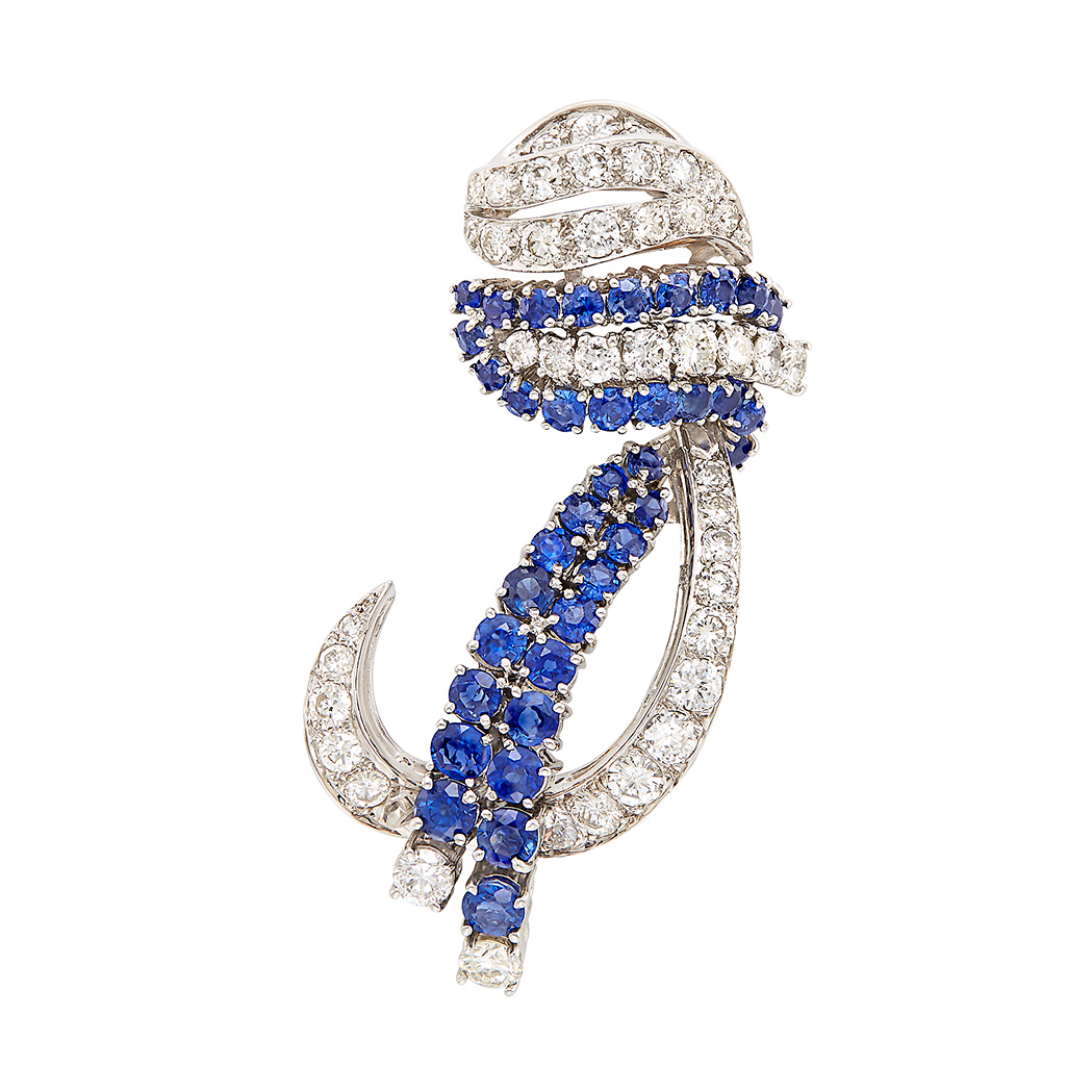 Lot image - White Gold, Sapphire and Diamond Pendant Clip-Brooch