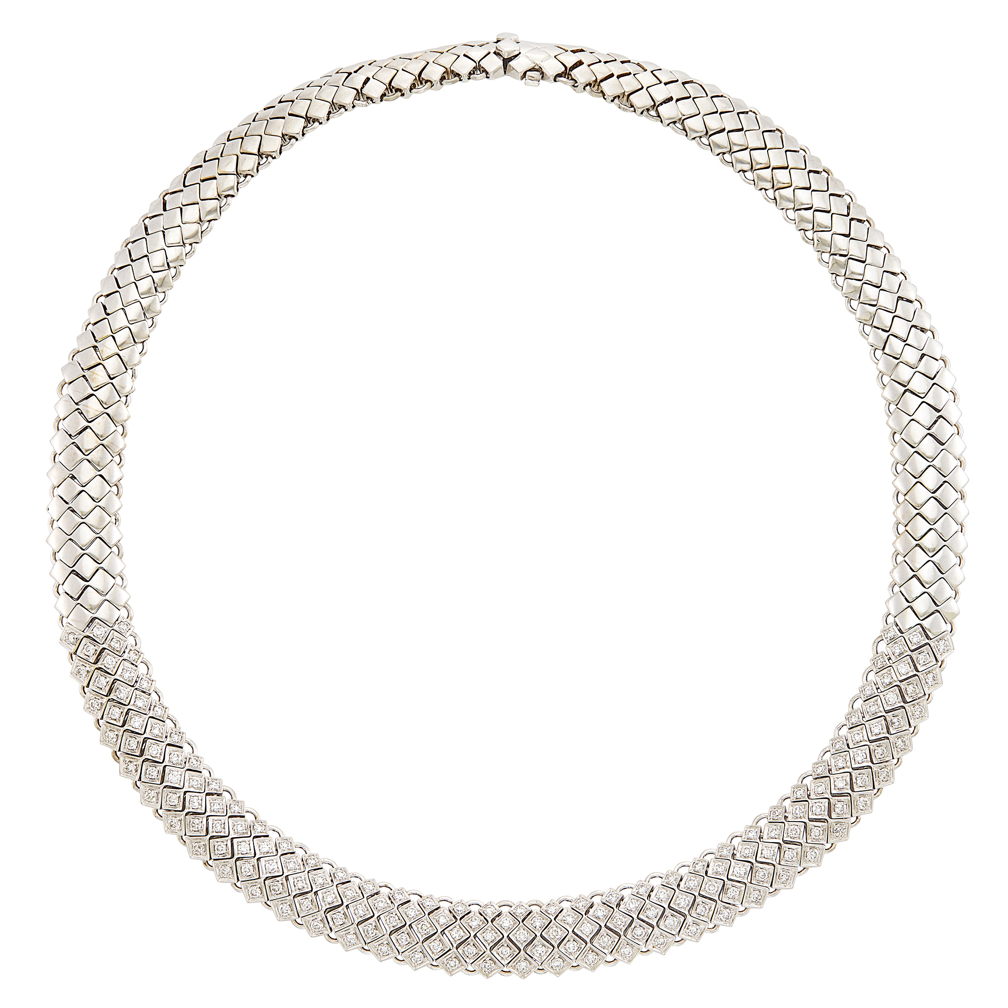 Lot image - White Gold and Diamond Necklace