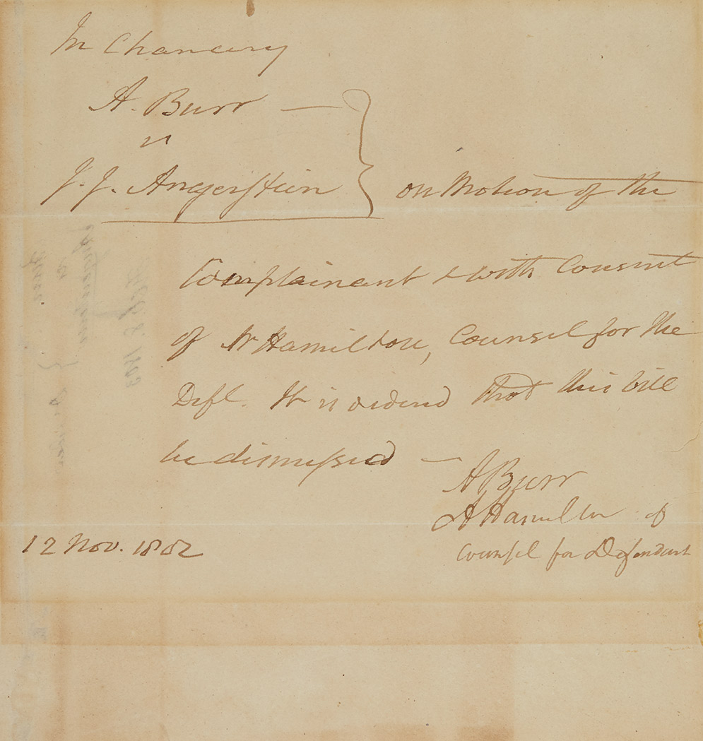 Lot image - [HAMILTON, ALEXANDER & BURR, AARON]  Legal document signed by Alexander Hamilton and with the secretarial signature of Aaron Burr on the dismissal of the critical New York land tract dispute Burr v. Angerstein.