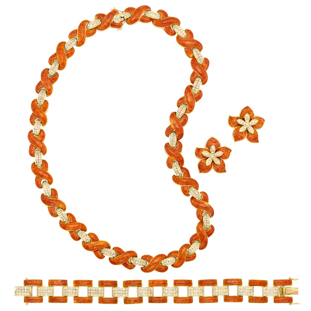 Lot image - Gold, Orange Enamel and Diamond Necklace, Bracelet and Pair of Earclips