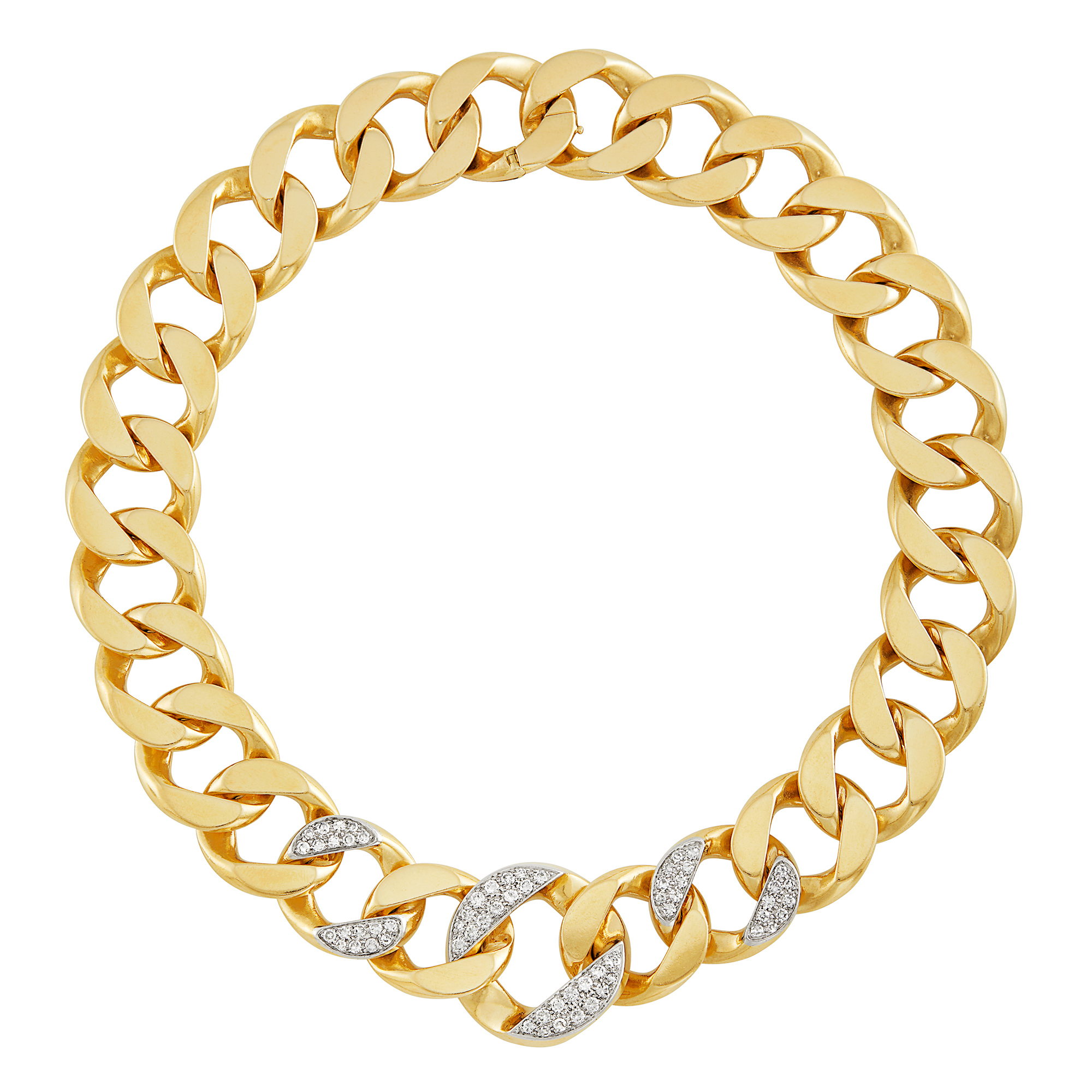 Lot image - Gold, Platinum and Diamond Curb Link Necklace, Cartier