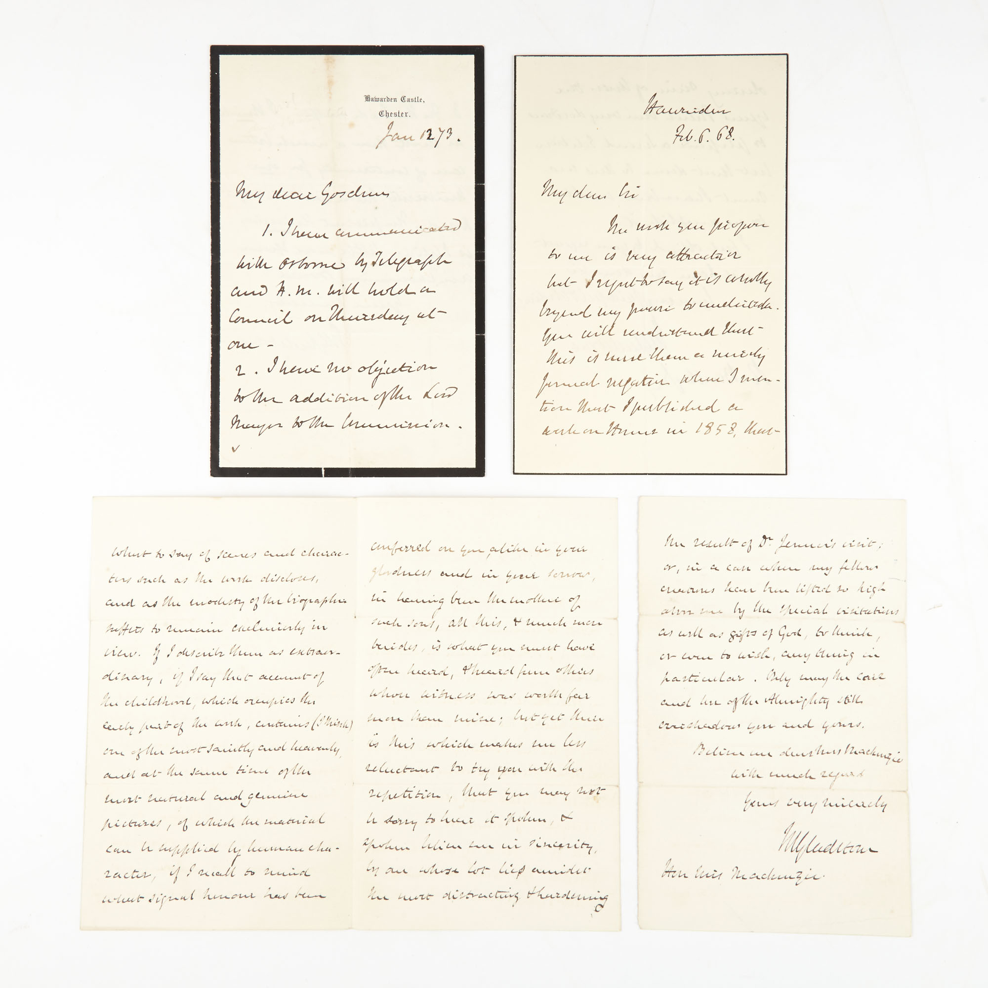 Lot image - GLADSTONE, WILLIAM EWART  Group of three autograph letters signed.