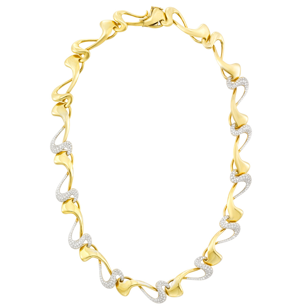 Lot image - Two-Color Gold and Diamond Necklace, Diana Vincent