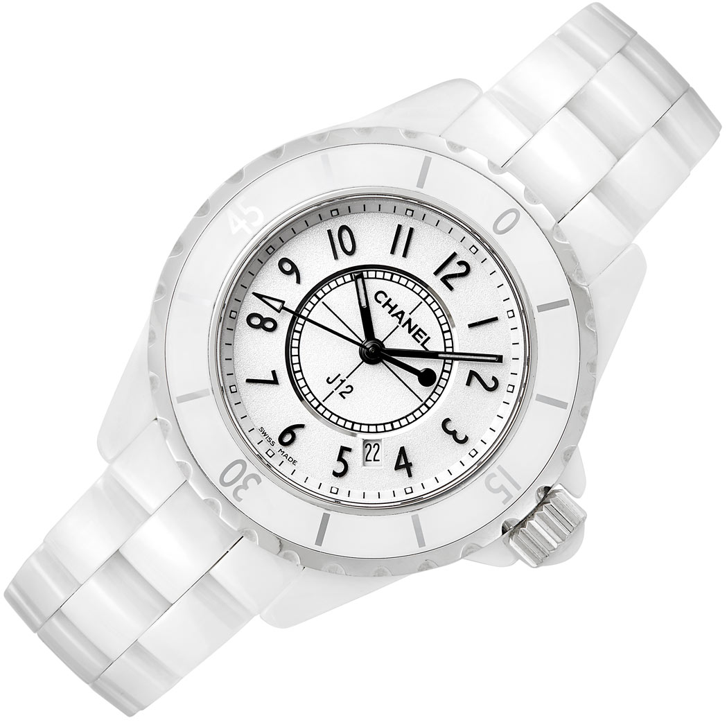 Lot image - Lady's White Ceramic and Stainless Steel 'J12' Wristwatch, Chanel