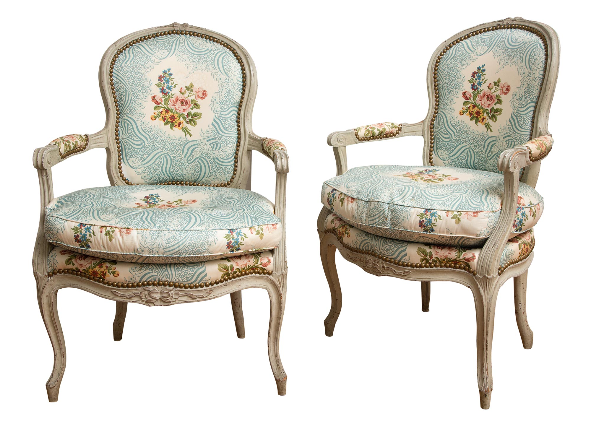 Lot image - Pair of Louis XV Painted Fauteuils à la Reine