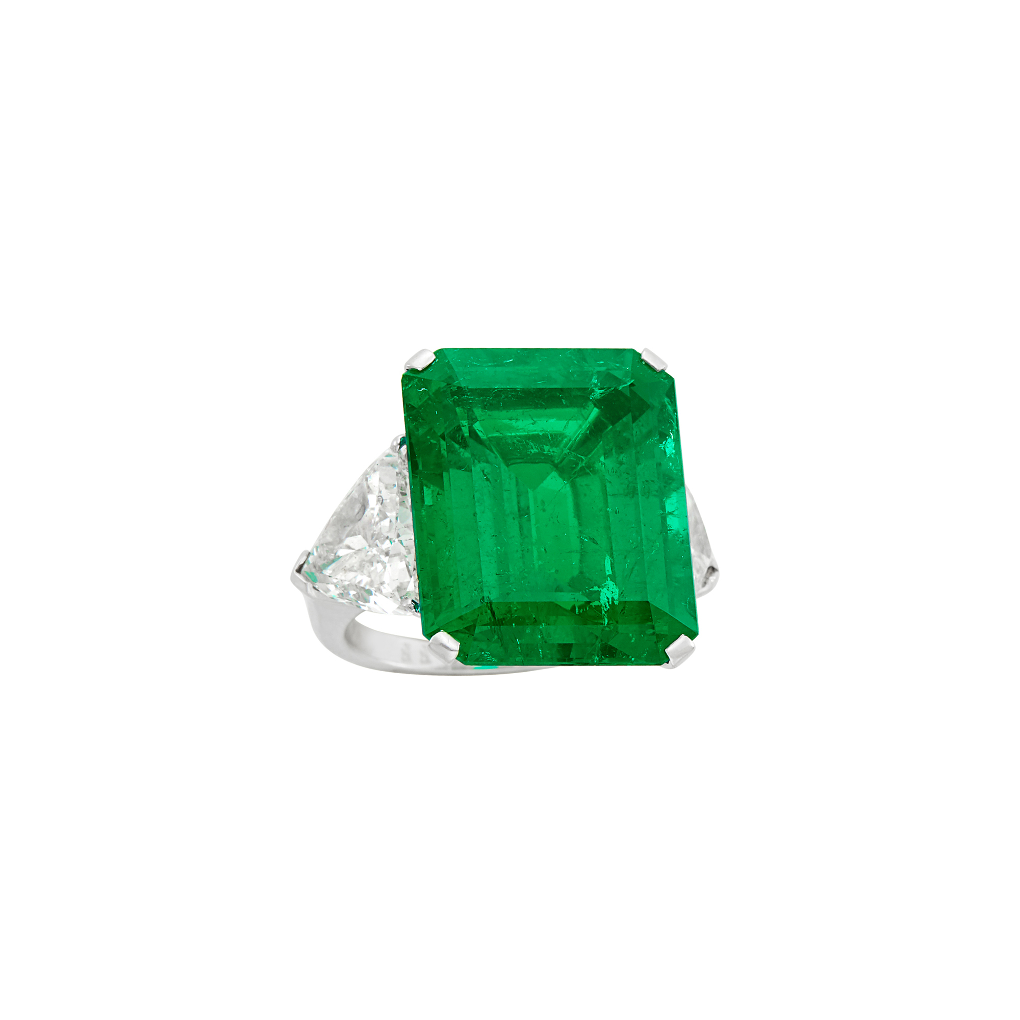Lot image - Graff Platinum, Emerald and Diamond Ring