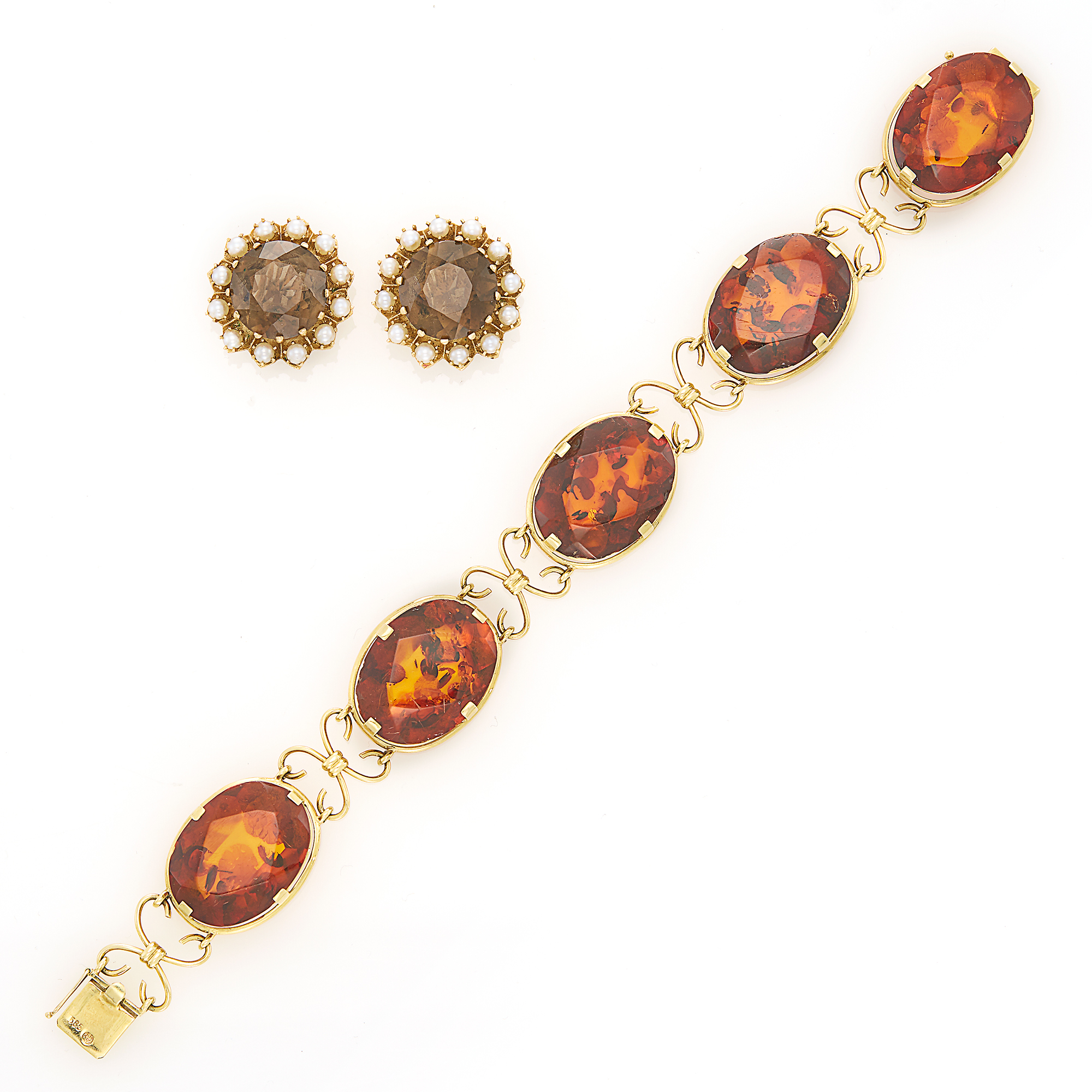 Lot image - Pair of Gold, Smoky Quartz and Cultured Pearl Earclips and Gold and Amber Bracelet