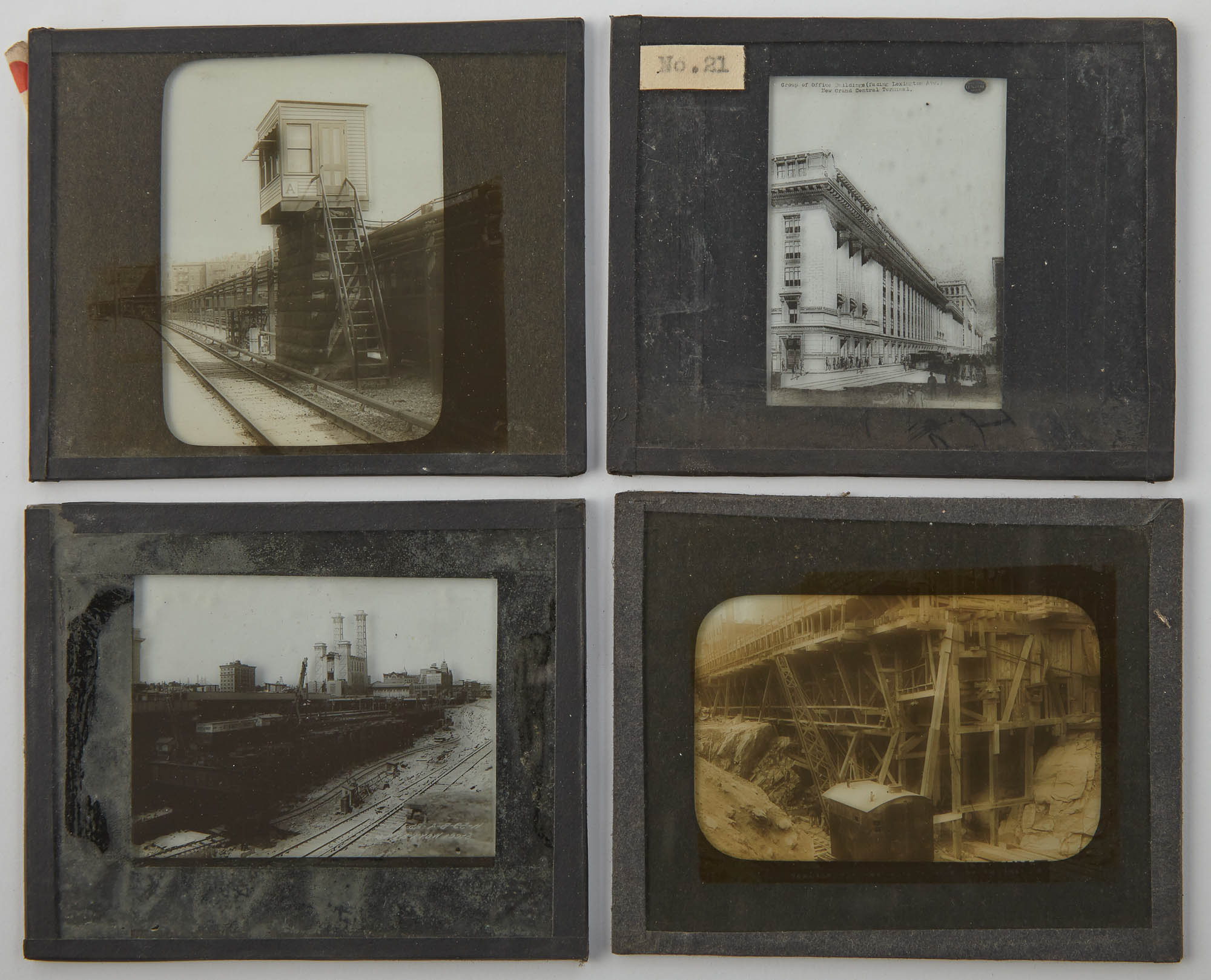 Lot image - [GRAND CENTRAL TERMINAL]  Group of approximately 75 glass lantern slides depicting the construction of Grand Central terminal and related buildings.