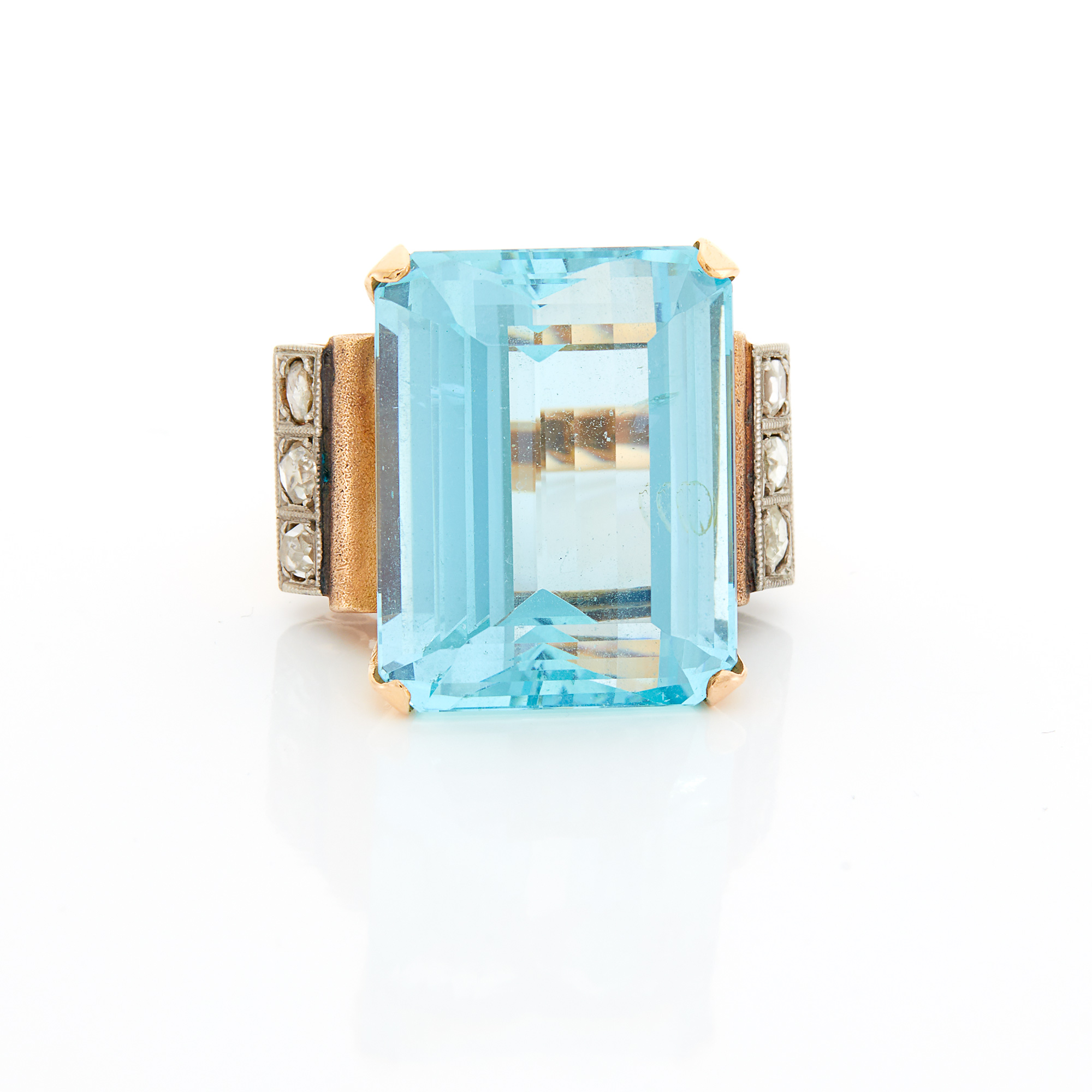 Lot image - Gold, Silver, Aquamarine and Diamond Ring