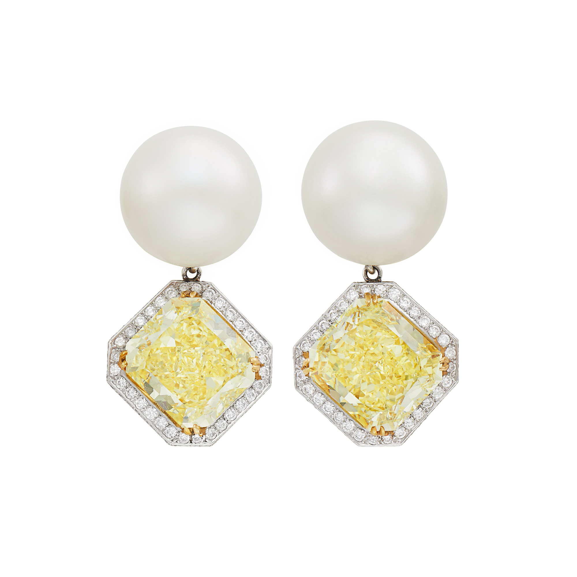 Lot image - Pair of Platinum, Gold, South Sea Cultured Pearl, Fancy Intense Yellow Diamond and Diamond Pendant-Earrings