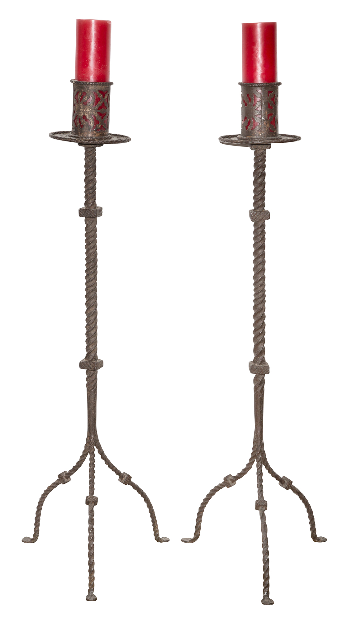 Lot image - Pair of Gothic Style Wrought Iron Floor Candlesticks