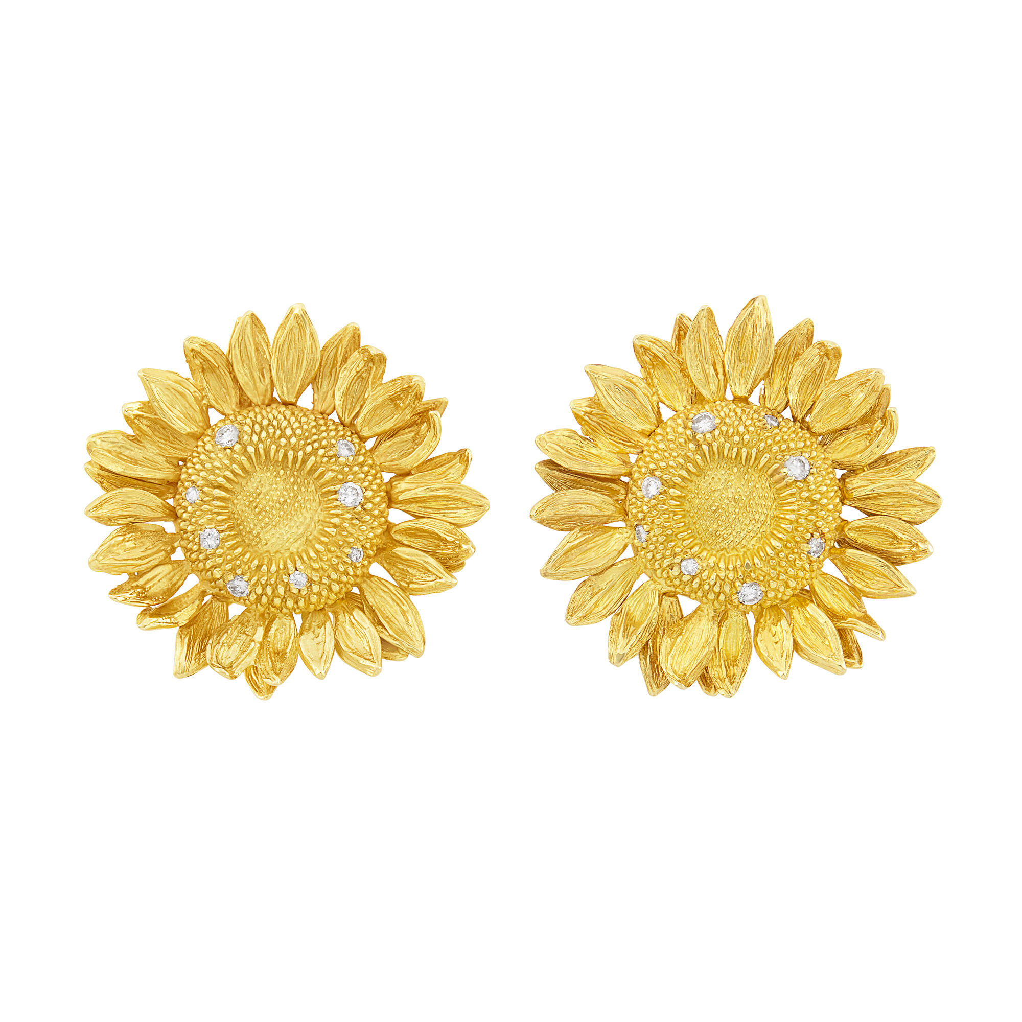 Lot image - Pair of Gold and Diamond Sunflower Earclips, Asprey