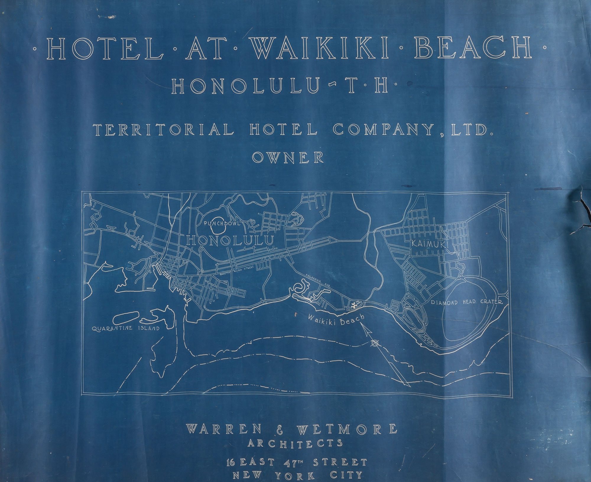 Lot image - [HAWAII]  Large format brad-bound blueprint book depicting the Hotel at Waikiki Beach