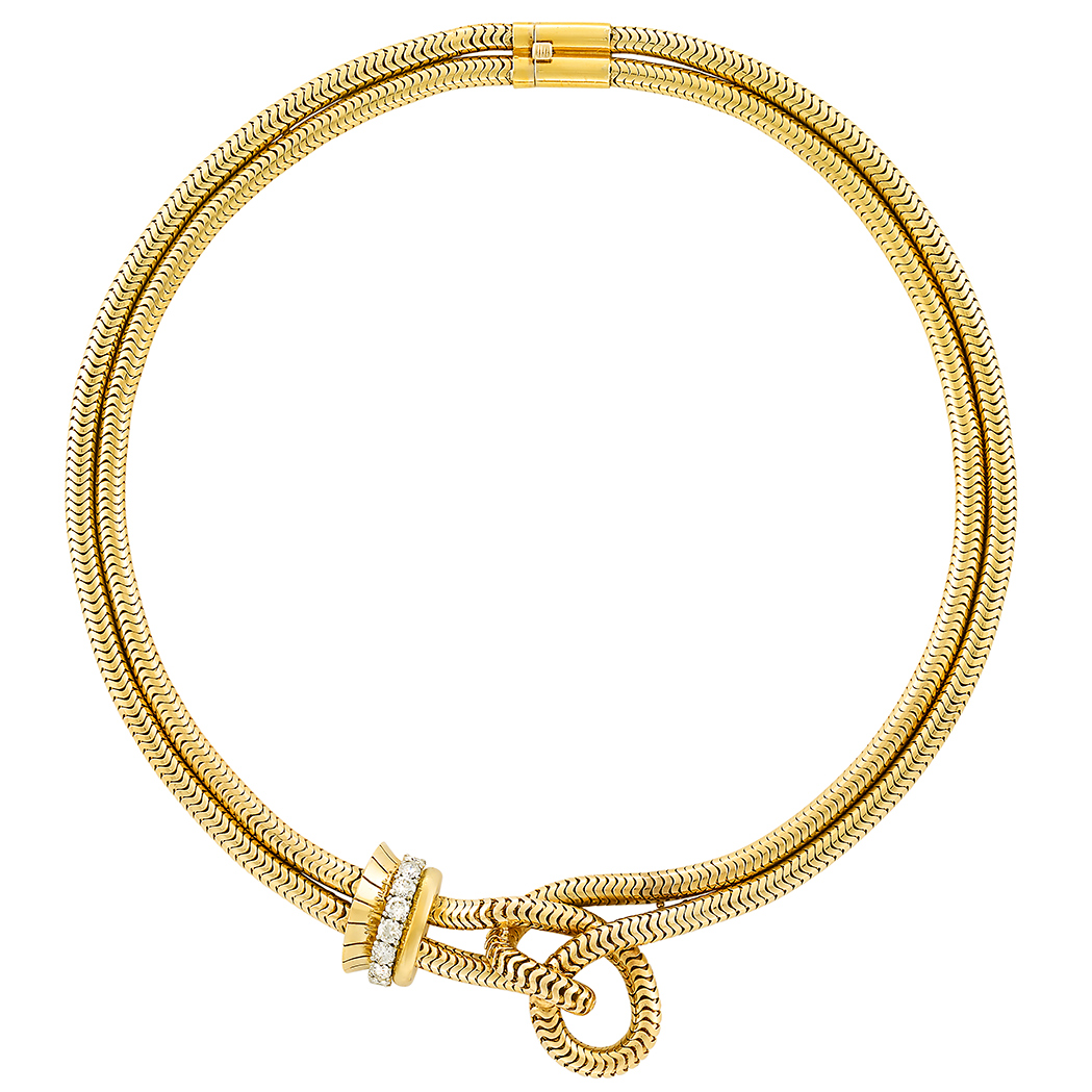 Lot image - Double Strand Gold, Platinum and Diamond Snake Chain Knot Necklace, Van Cleef & Arpels