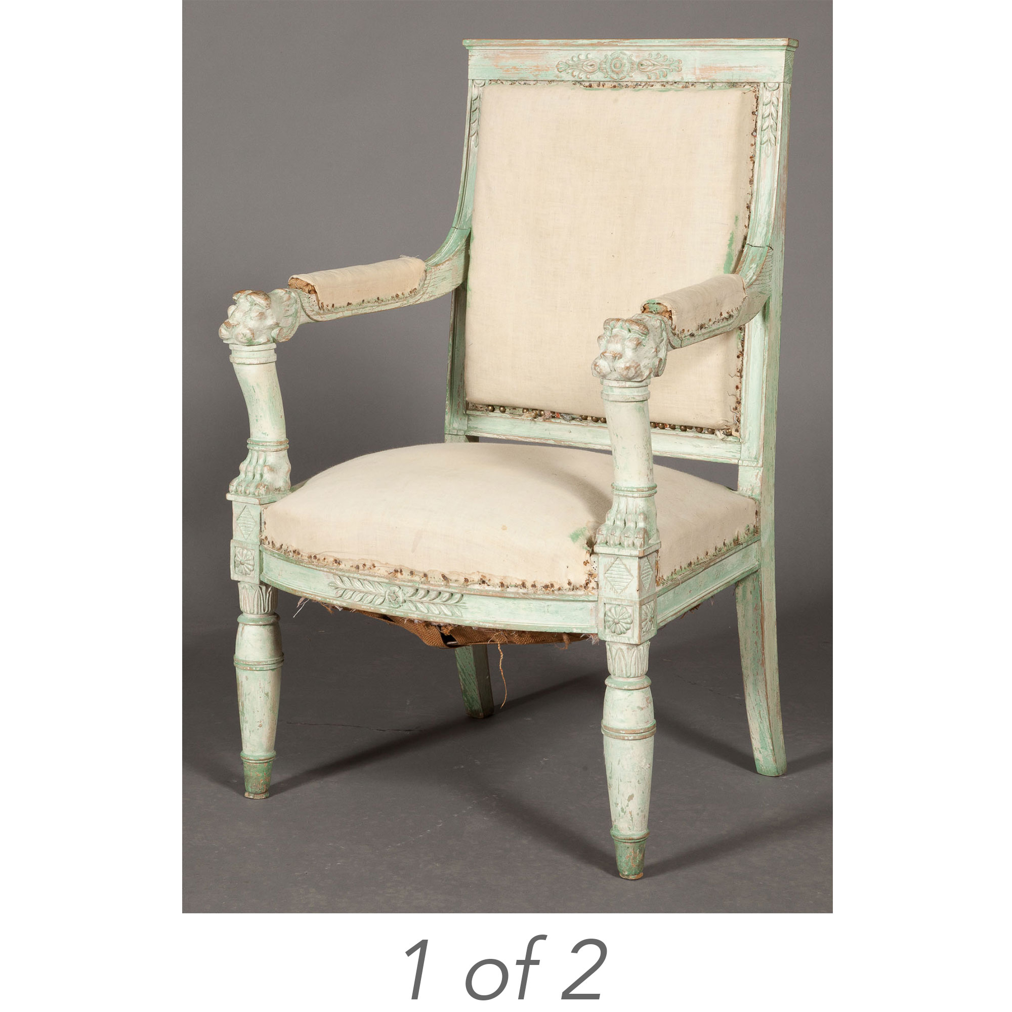 Lot image - Pair of Empire Style Painted Armchairs