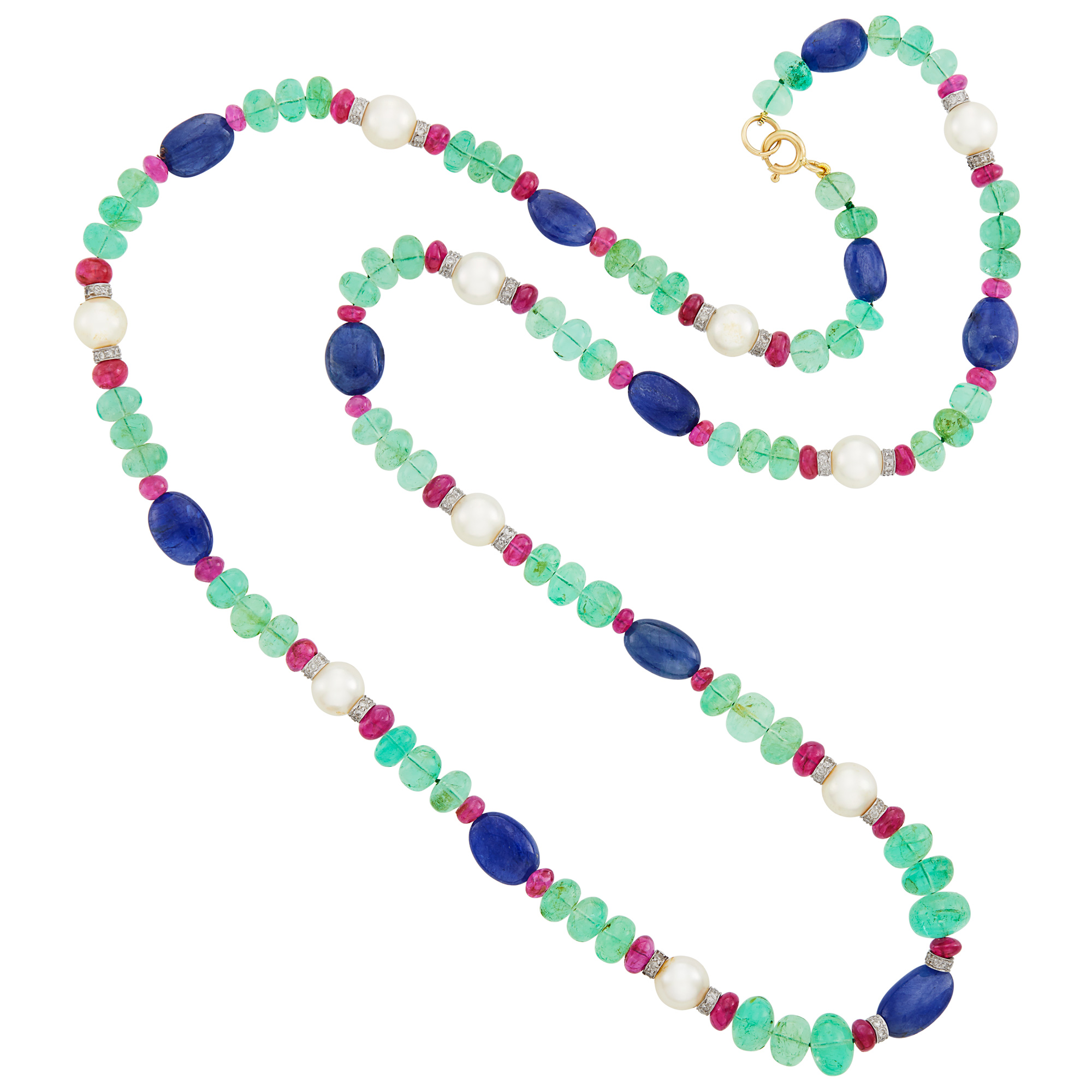 Lot image - Emerald, Ruby and Sapphire Bead, Cultured Pearl, White Gold and Diamond Necklace