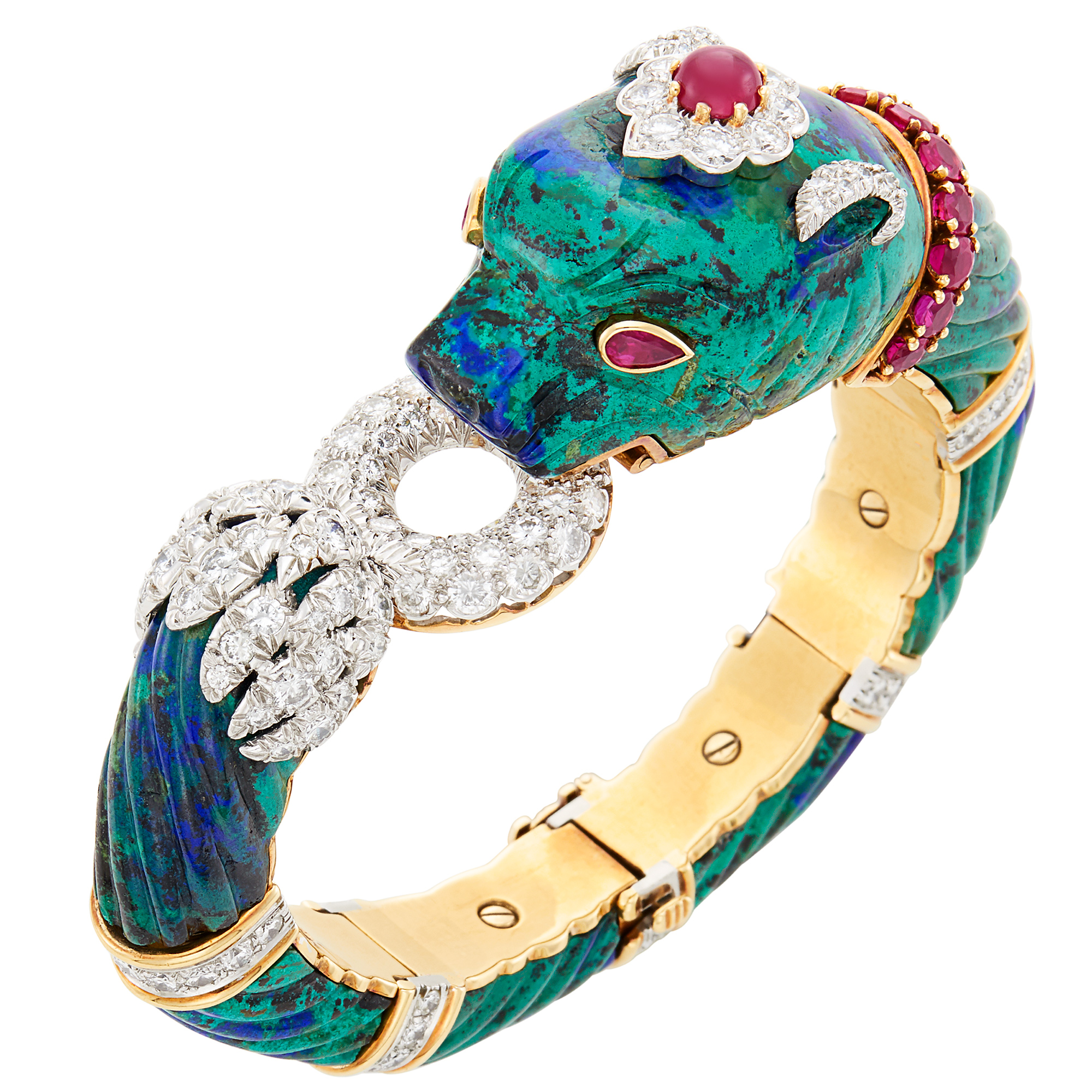 Lot image - Platinum, Gold, Azurmalachite, Ruby and Diamond Bracelet, David Webb