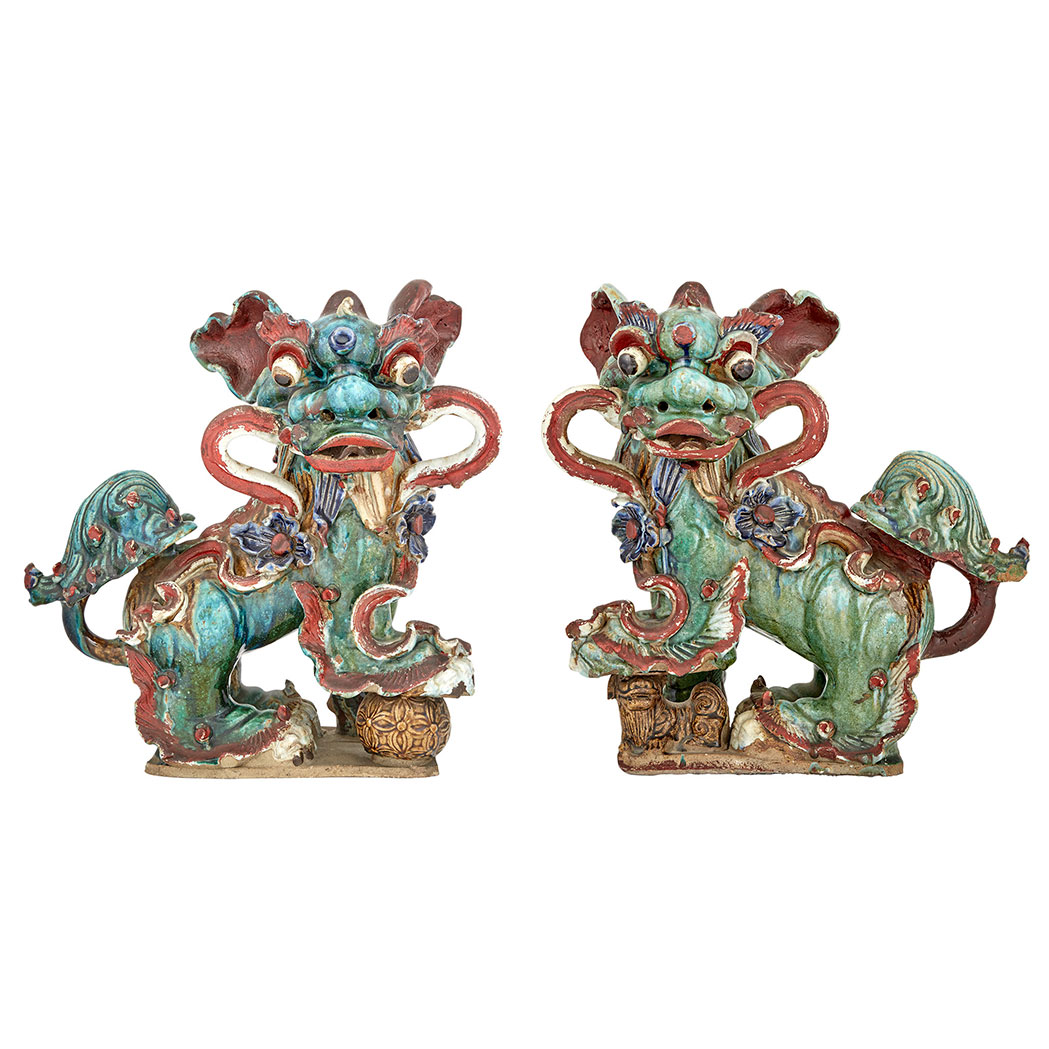 Lot image - Pair of Chinese Glazed Stoneware Fu Dog Roof Tile Finials