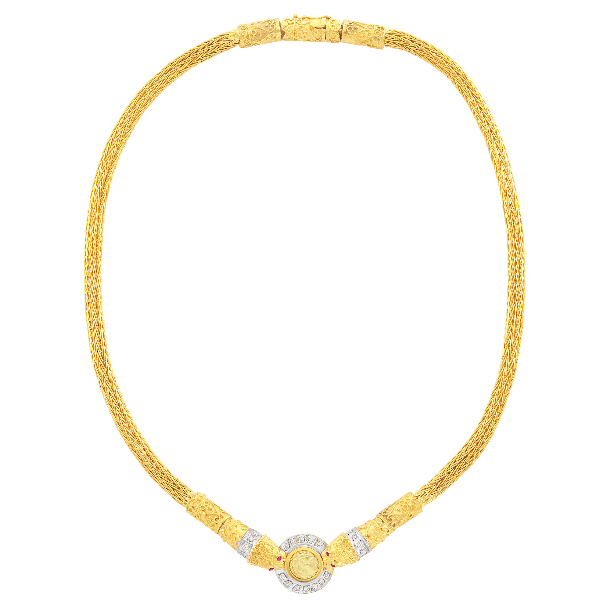 Lot image - Two-Color Gold and Diamond Medallion Necklace