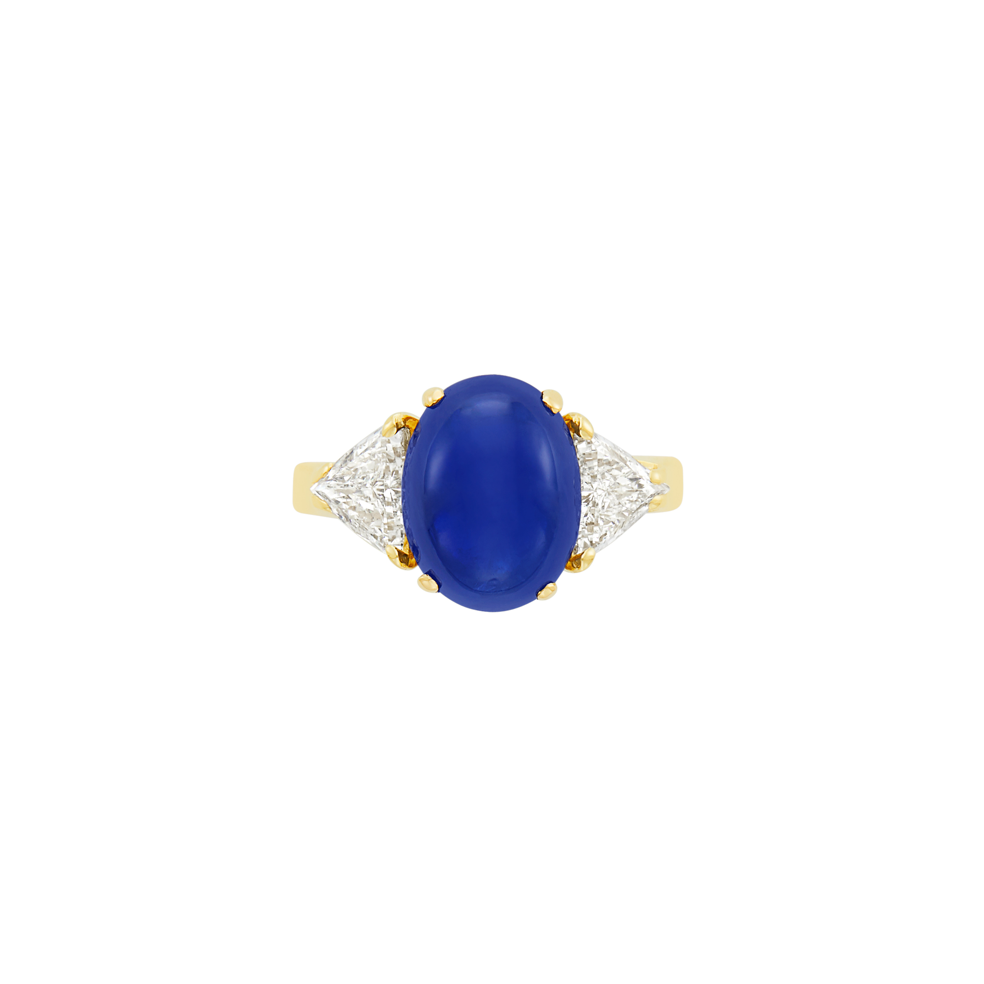 Lot image - Gold, Cabochon Sapphire and Diamond Ring