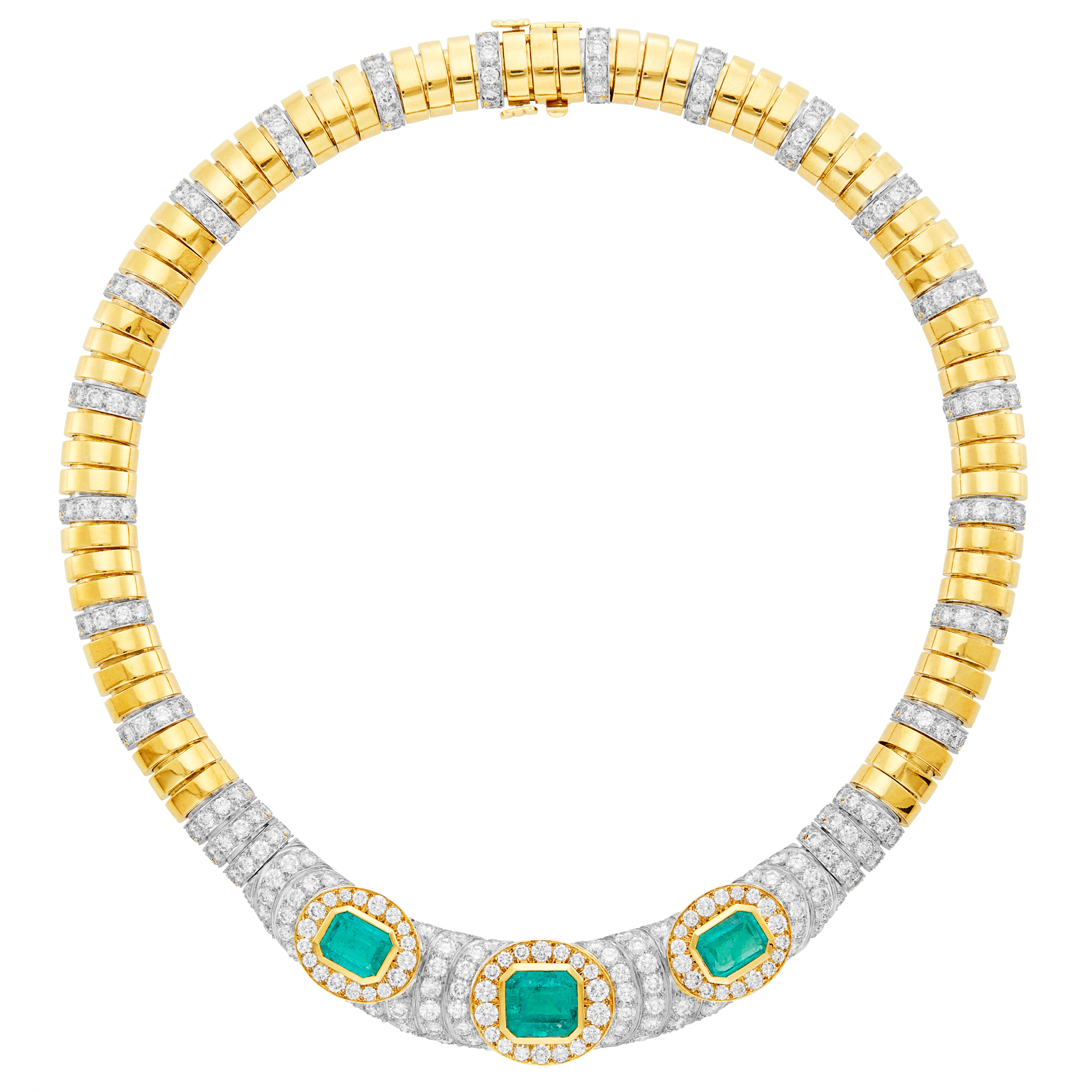 Lot image - David Webb Gold, Platinum, Emerald and Diamond Necklace