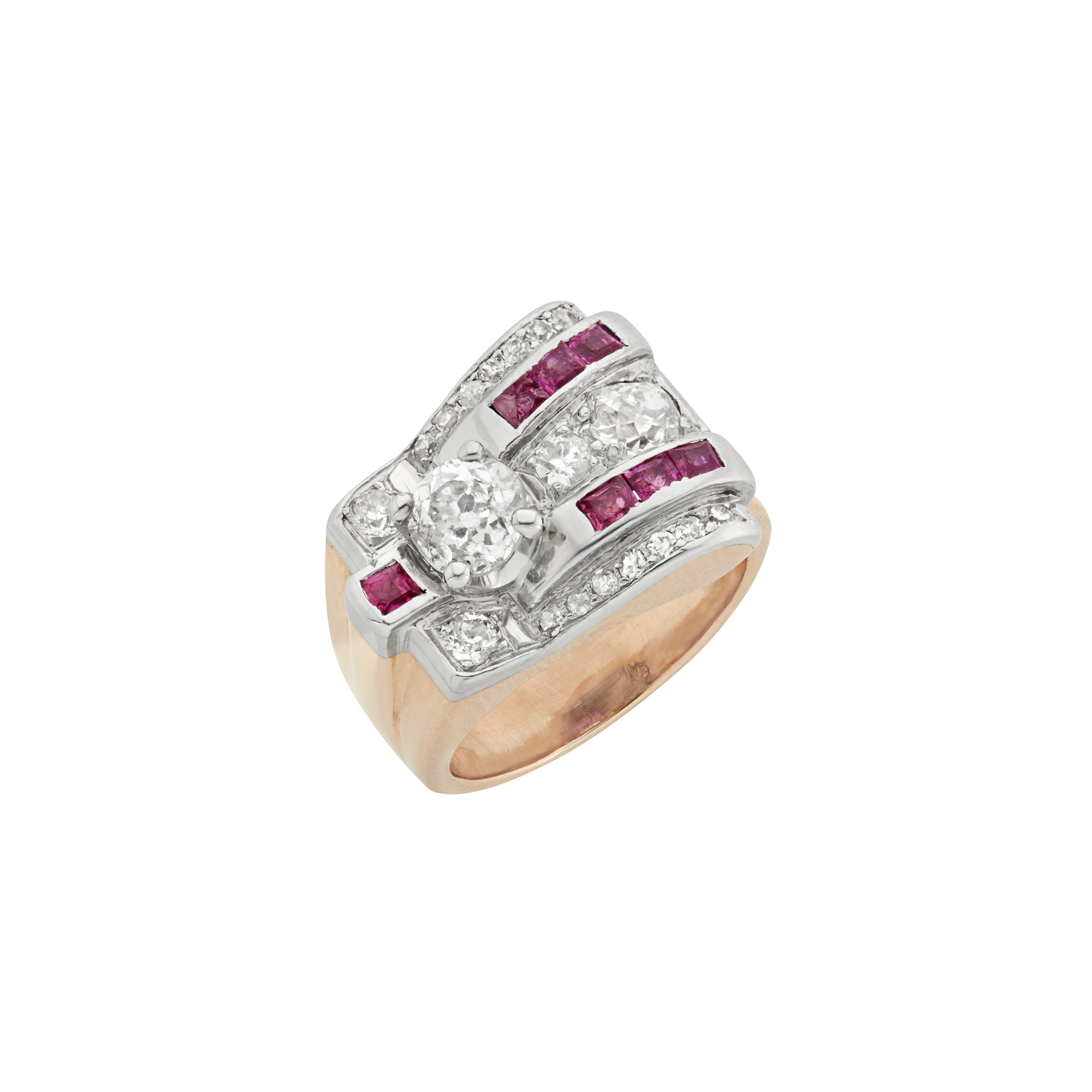 Lot image - Retro Platinum, Gold and Ruby Ring