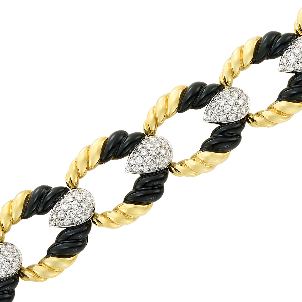 Lot image - Two-Color Gold, Diamond and Black Onyx Bracelet