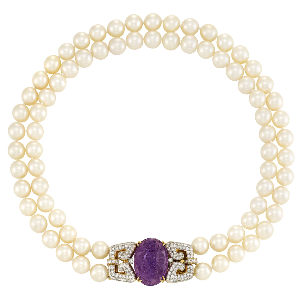 Lot image - Double Strand Cultured Pearl, Two-Color Gold, Diamond and Carved Amethyst Necklace