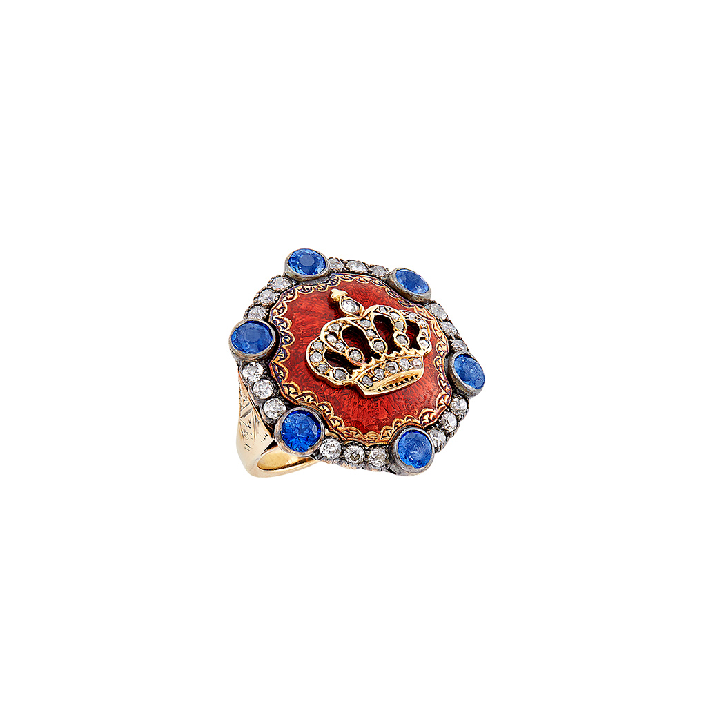 Lot image - Antique Gold, Sapphire, Diamond and Guilloché Enamel Crown Ring