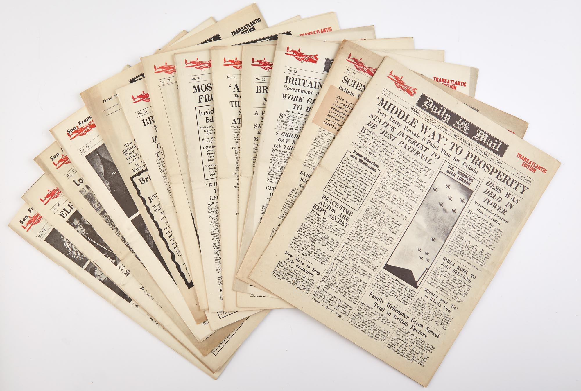 Lot image - [NEWSPAPERS]  Large archive of newspapers.