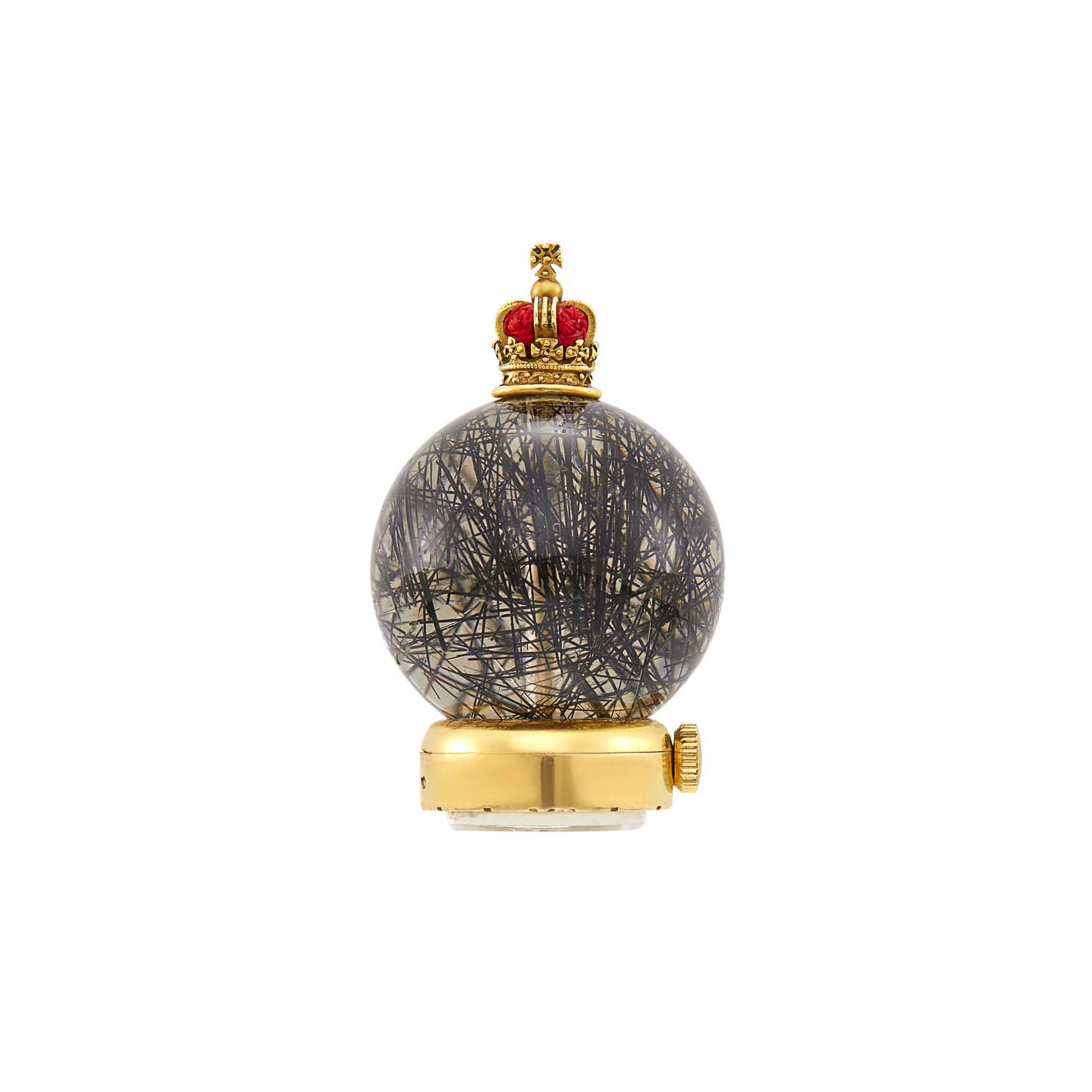 Lot image - Cartier Gold, Rutilated Quartz and Red Thread Sphere Desk Clock, France
