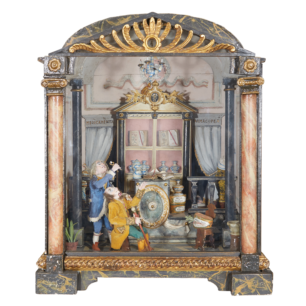 Italian Faux Marble Painted And Parcel Gilt Diorama Of A