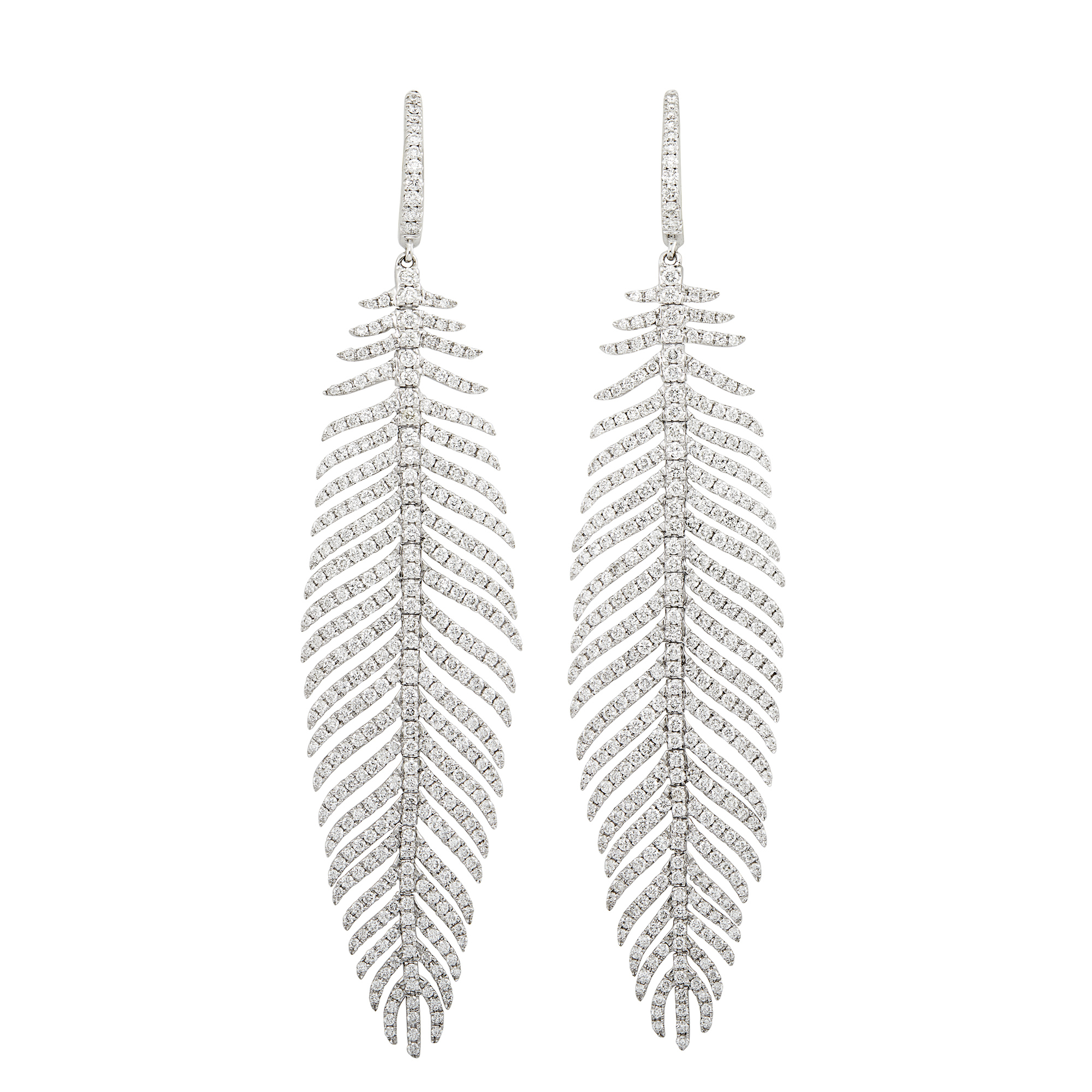 Lot image - Pair of White Gold and Diamond Feather Pendant-Earrings
