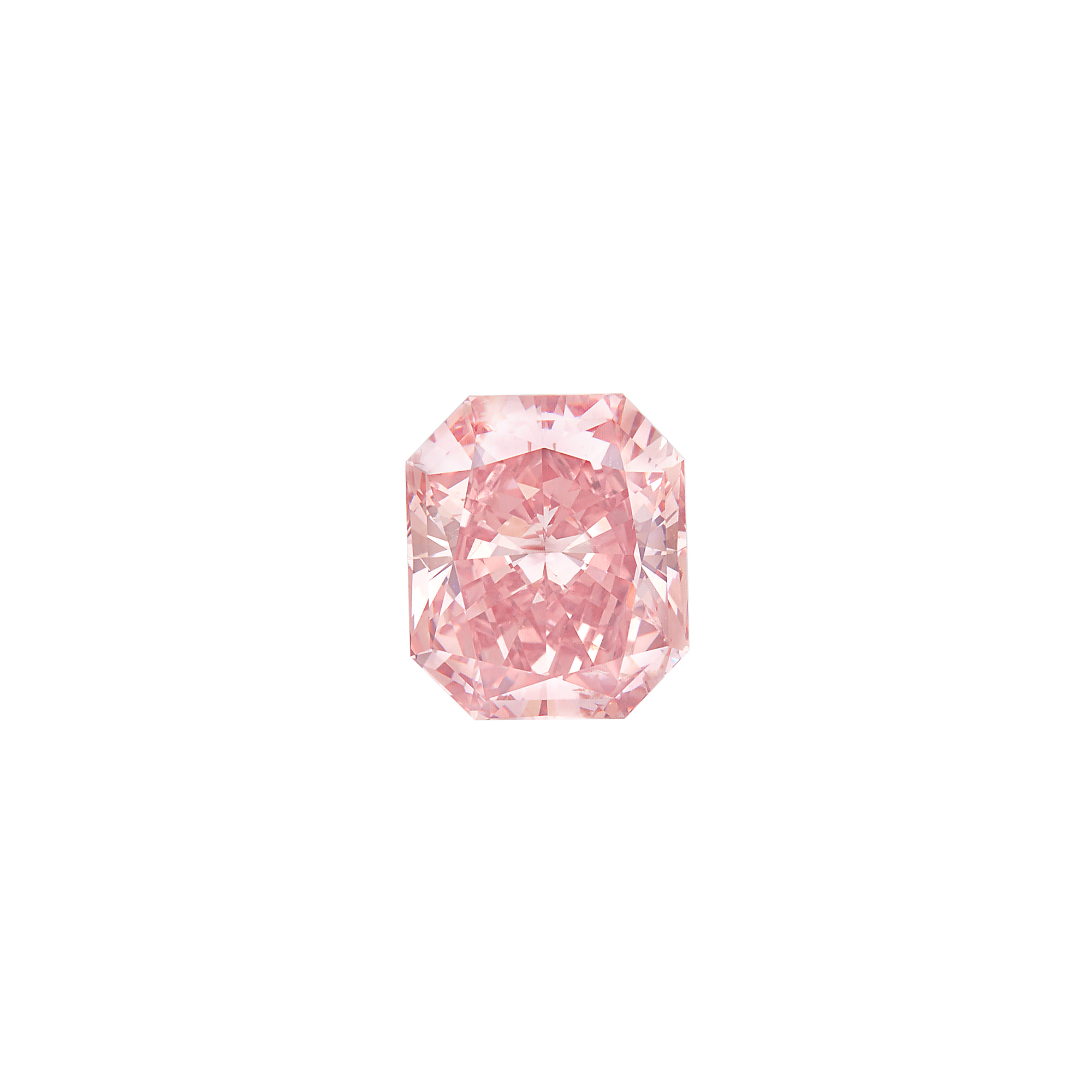 Lot image - Unmounted Fancy Intense Orangy Pink Diamond
