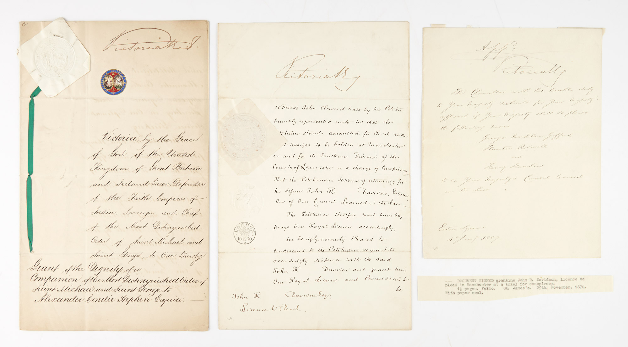 Lot image - QUEEN VICTORIA  Group of three documents signed