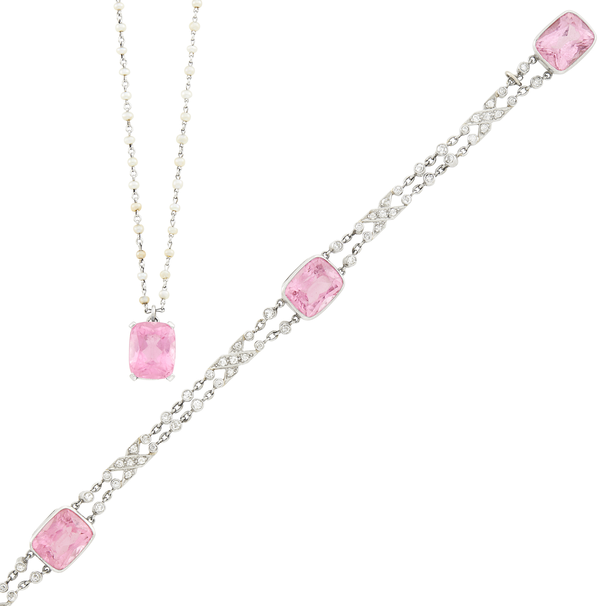 Lot image - Platinum, Seed Pearl and Pink Tourmaline Pendant-Necklace and Pink Tourmaline and Diamond Bracelet
