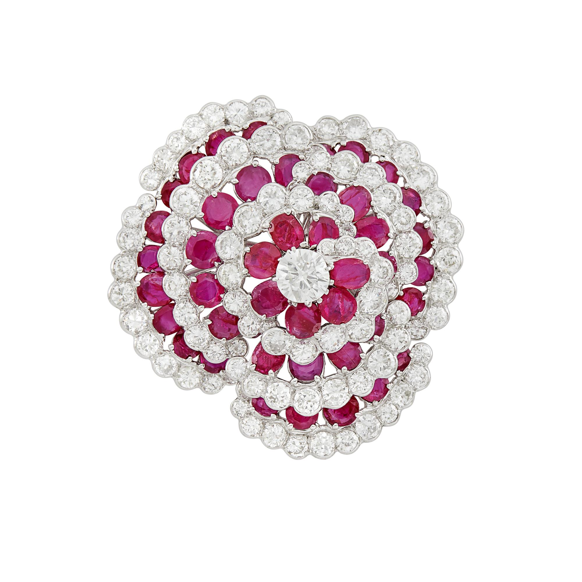 Lot image - Platinum, Ruby and Diamond Flower Brooch