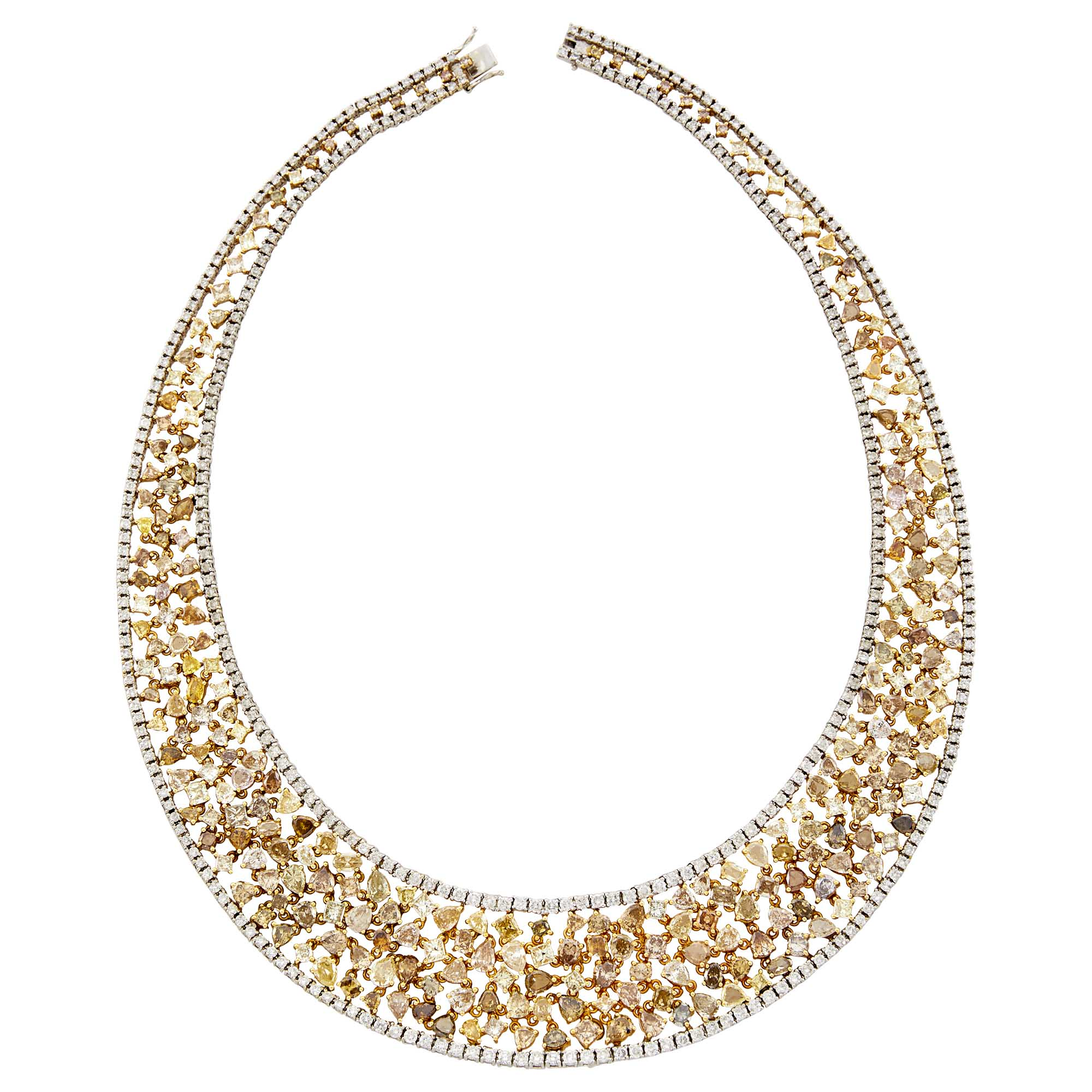 Lot image - Two-Color Gold, Colored Diamond and Diamond Necklace