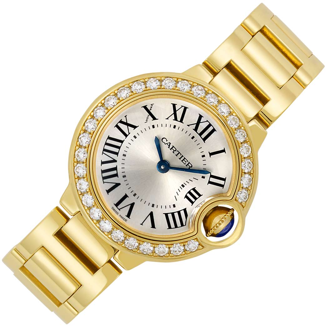 Lot image - Lady's Gold and Diamond 'Ballon Bleu' Wristwatch, Cartier