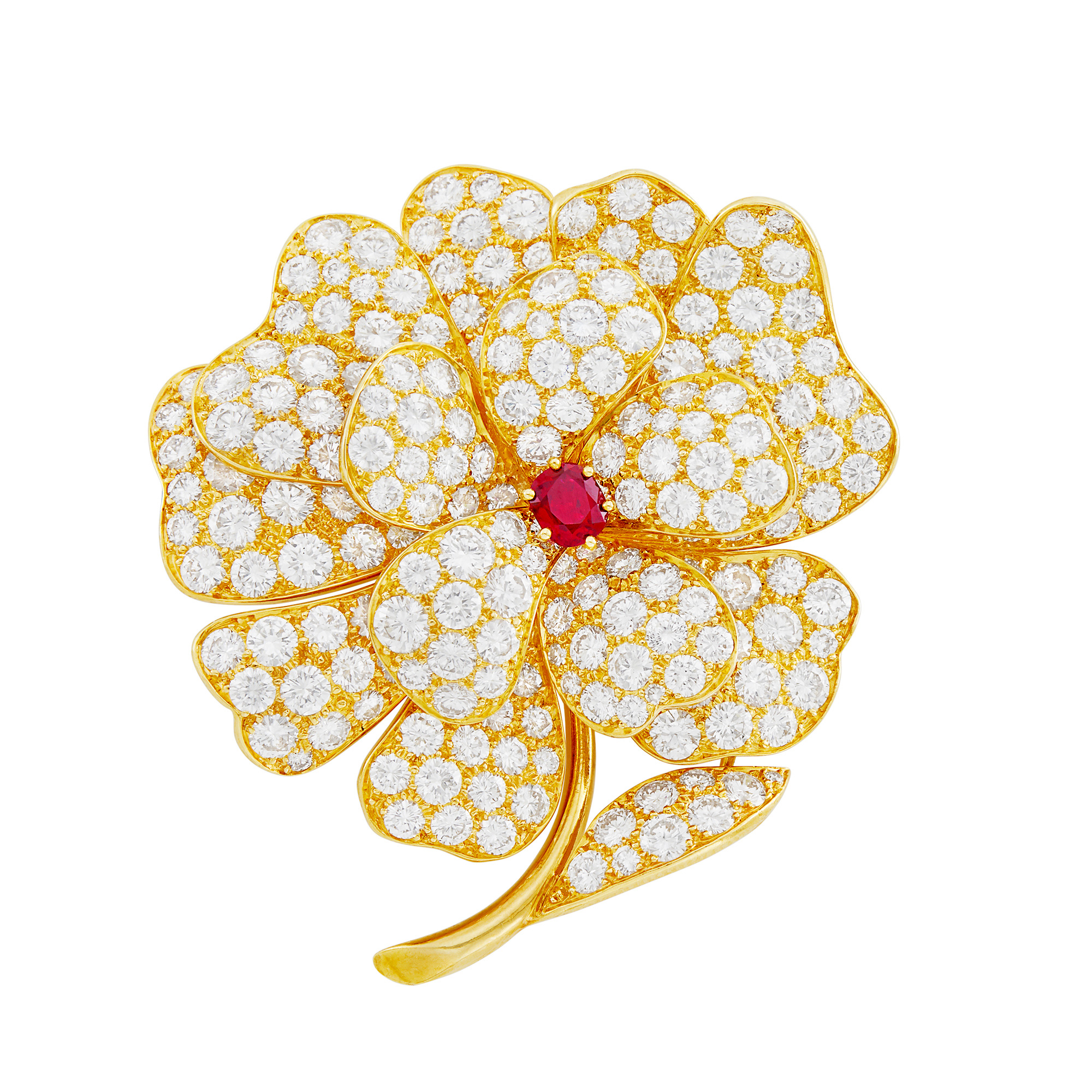 Lot image - Gold, Ruby and Diamond Flower Brooch, Van Cleef & Arpels