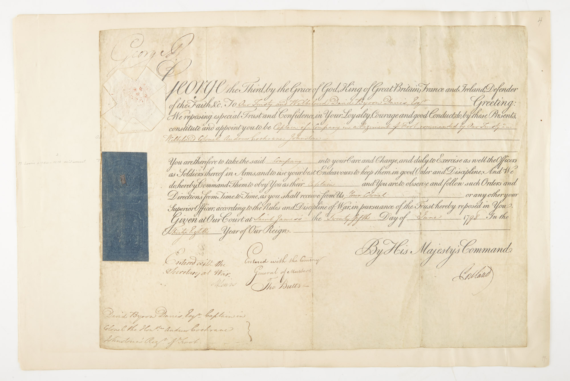 Lot image - GEORGE III (George William Frederick)  Three documents signed.