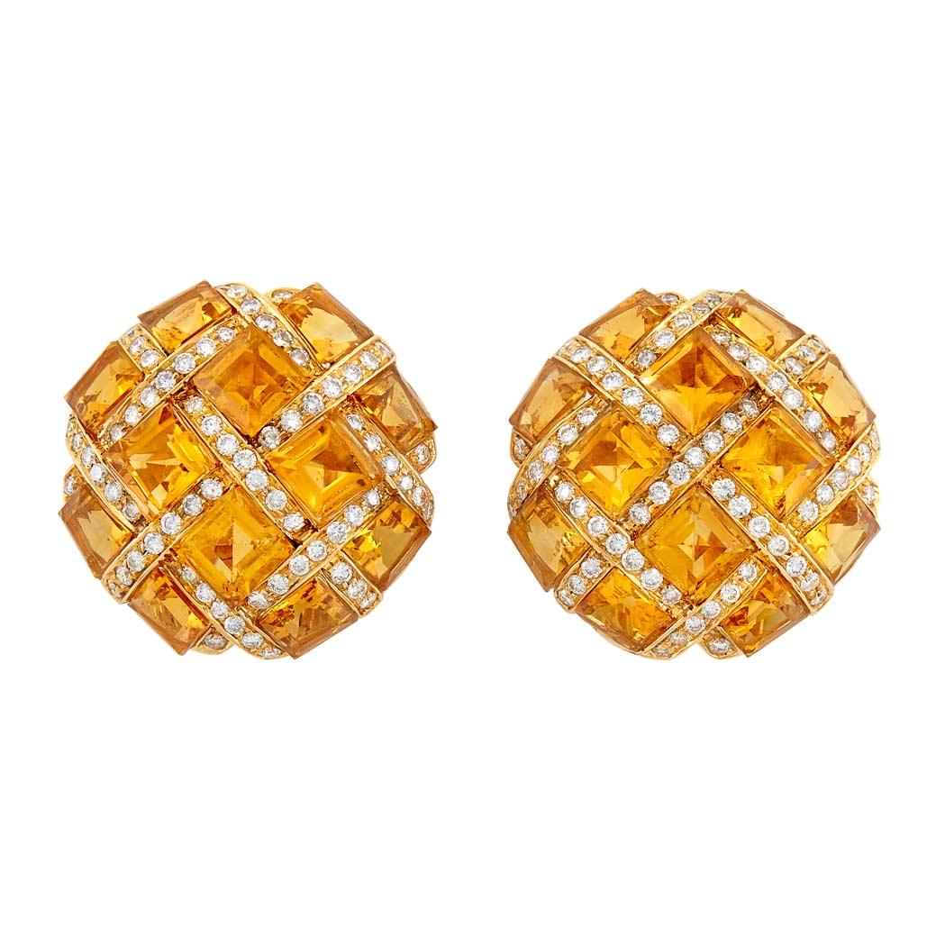 Lot image - Pair of Gold, Citrine and Diamond Earclips