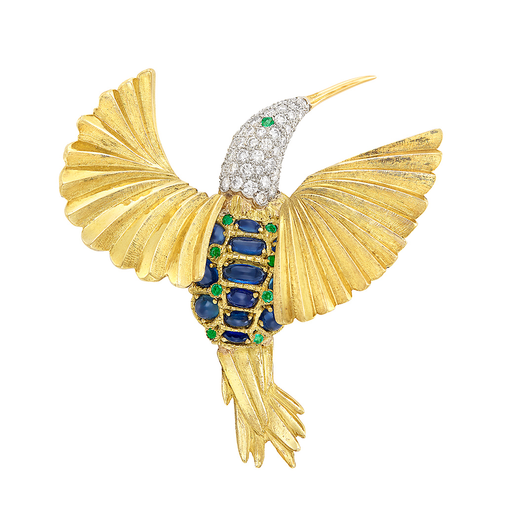 Lot image - Gold, Platinum, Diamond, Cabochon Sapphire and Emerald Bird Brooch