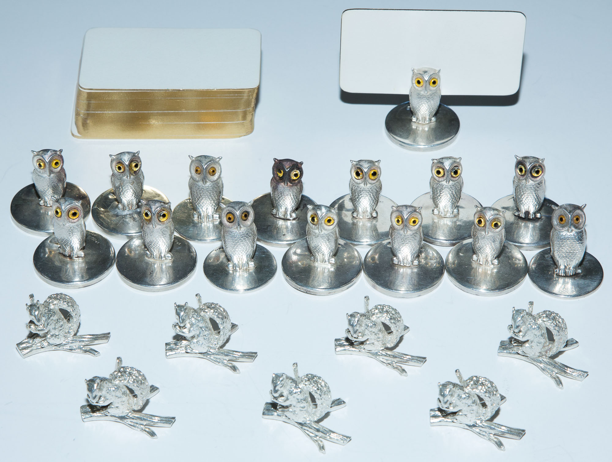 Lot image - Group of Sterling Silver Place Card Holders