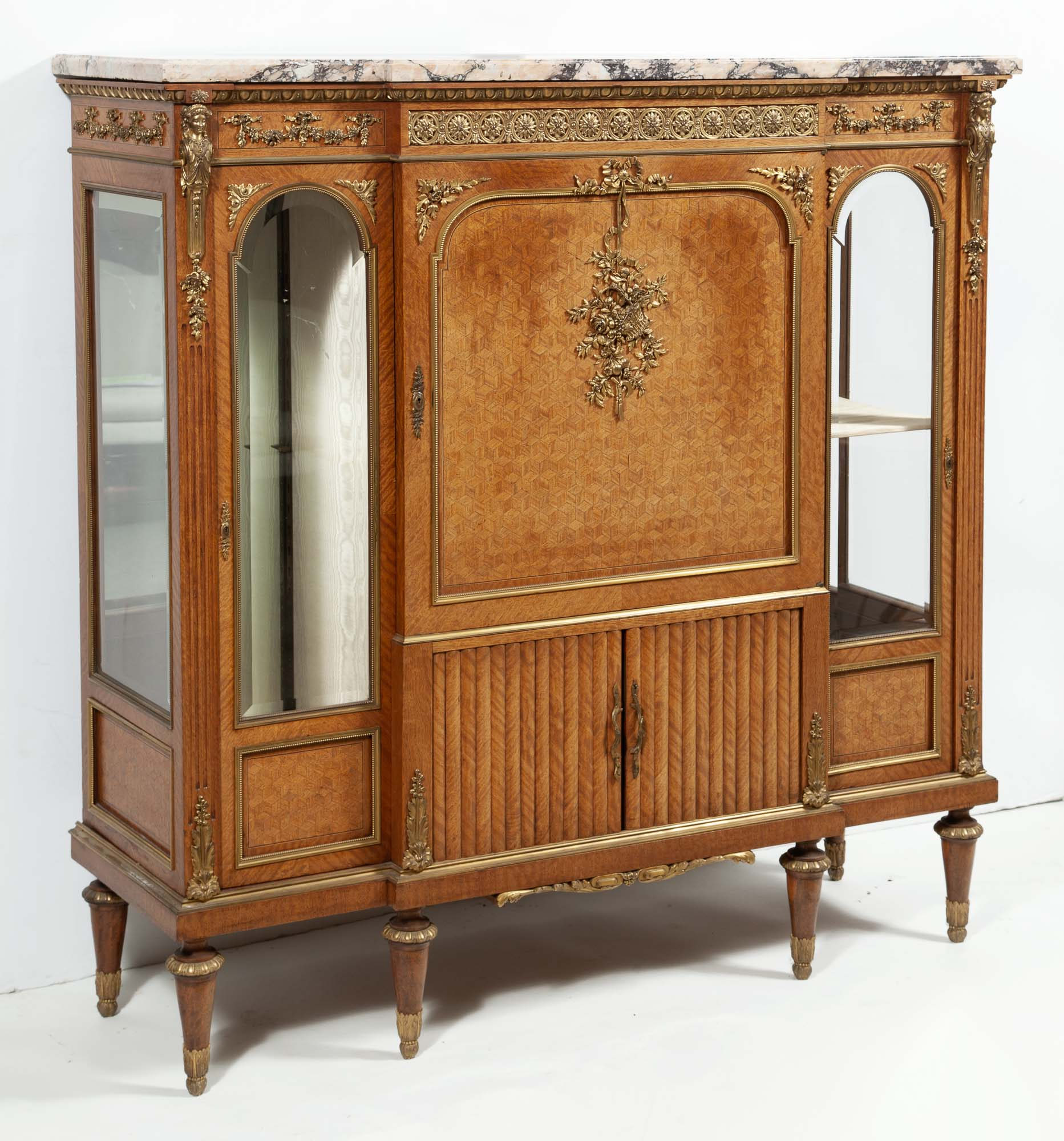 Lot image - Louis XVI Style Gilt-Bronze Mounted Kingwood Marquetry Vitrine by François Linke