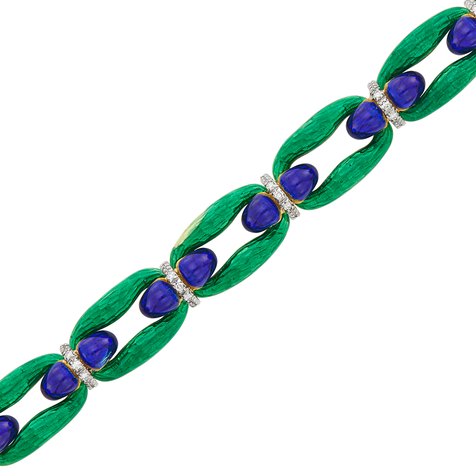 Lot image - Gold, Blue and Green Enamel and Diamond Link Bracelet