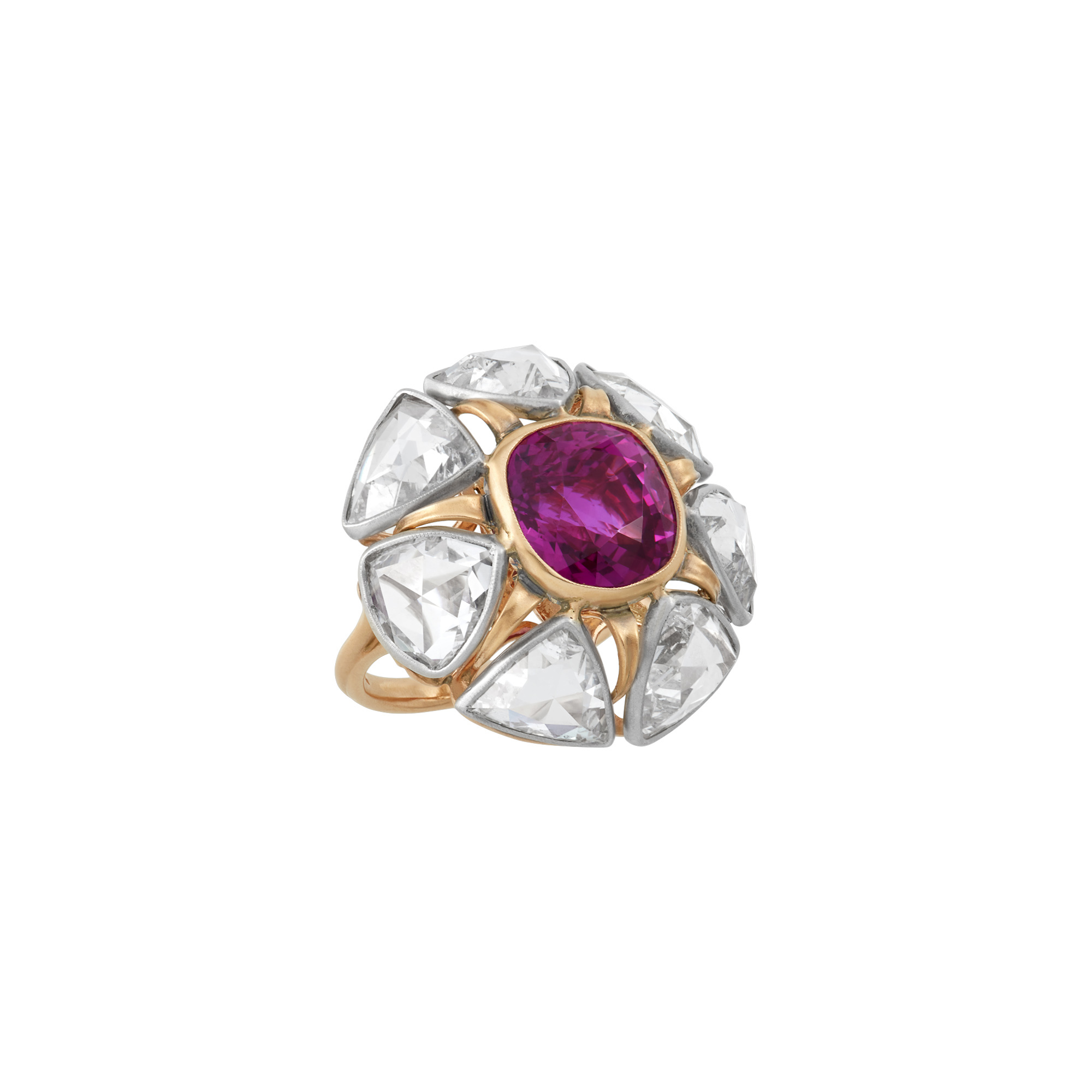 Lot image - Platinum, Rose Gold, Ruby and Diamond Ring