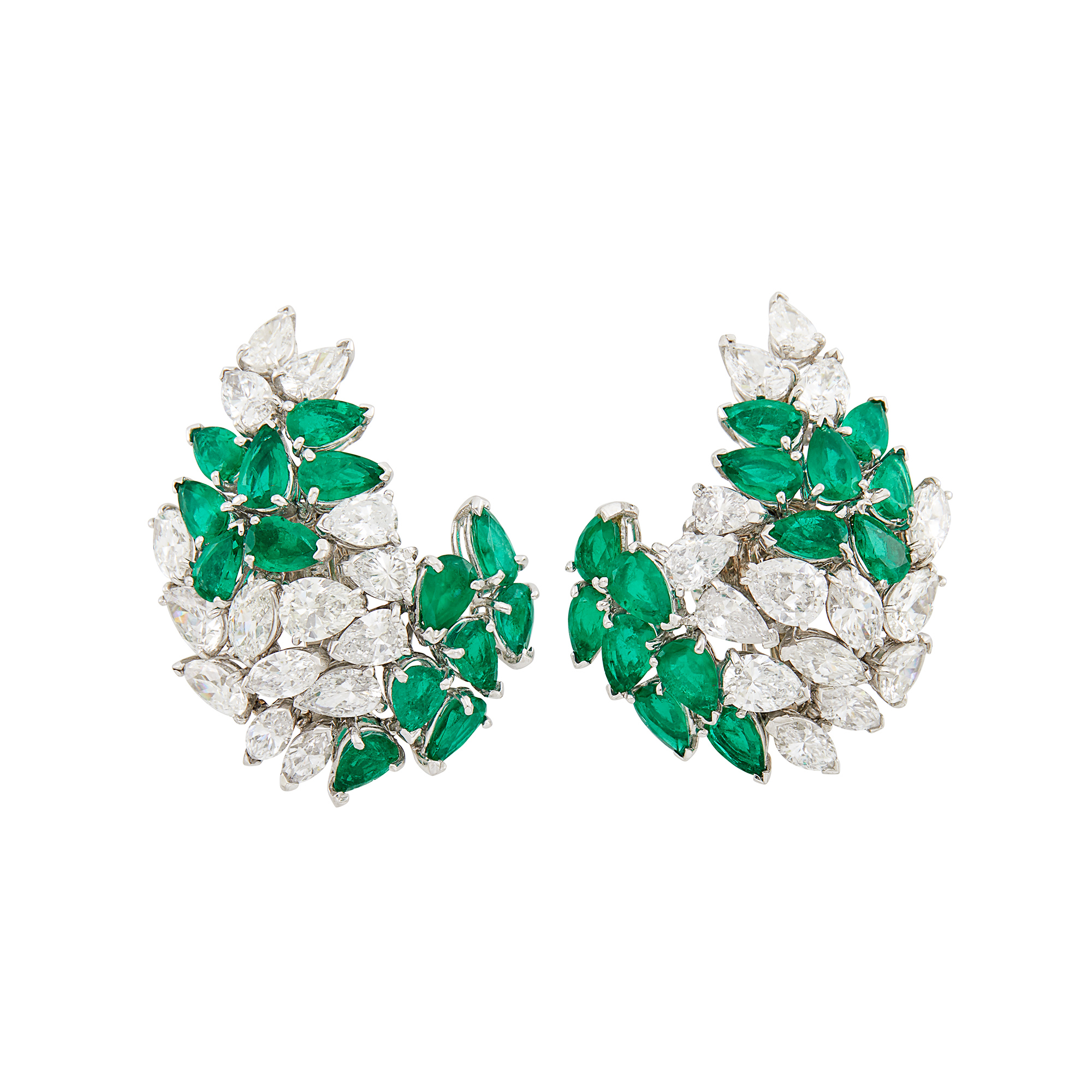 Lot image - Pair of Platinum, Diamond and Emerald Cluster Earclips, David Webb