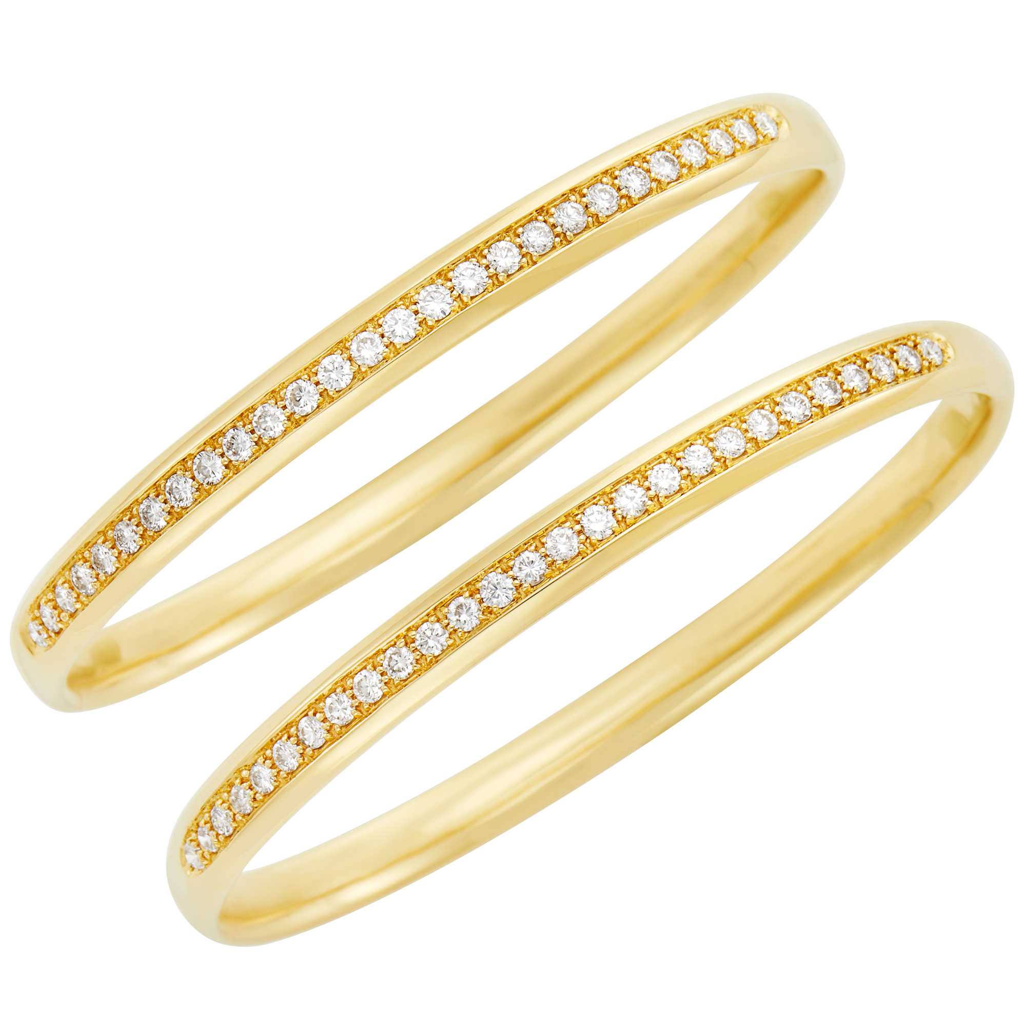 Lot image - Pair of Gold and Diamond Bangle Bracelets