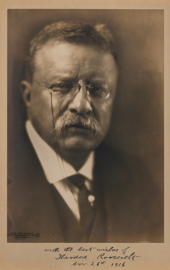 Lot image - ROOSEVELT, THEODORE  Inscribed photograph